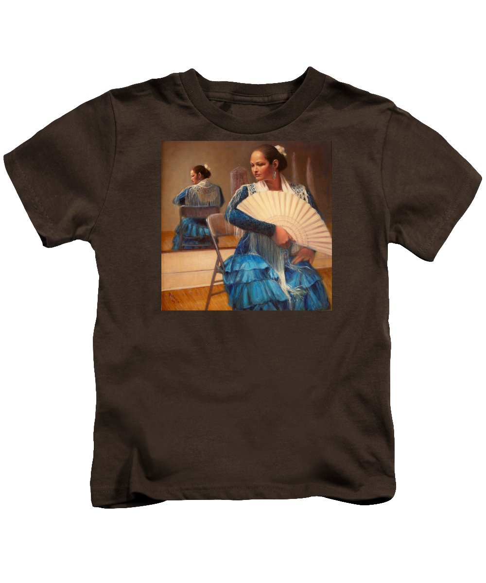 Realism Kids T-Shirt featuring the painting Flamenco 1 by Donelli DiMaria
