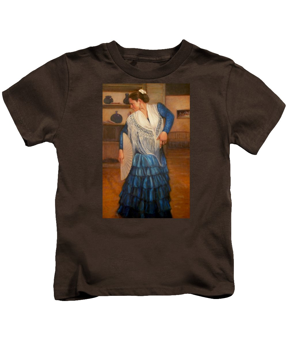 Realism Kids T-Shirt featuring the painting Flamenco 2 by Donelli DiMaria