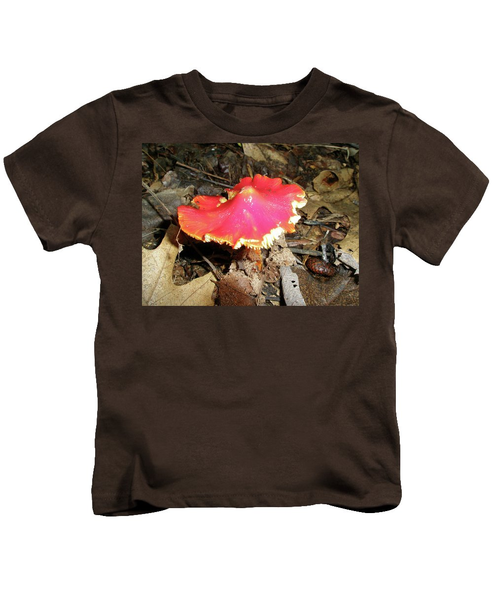 Mushroom Kids T-Shirt featuring the photograph Flamenco Mushroom In Red by Mother Nature