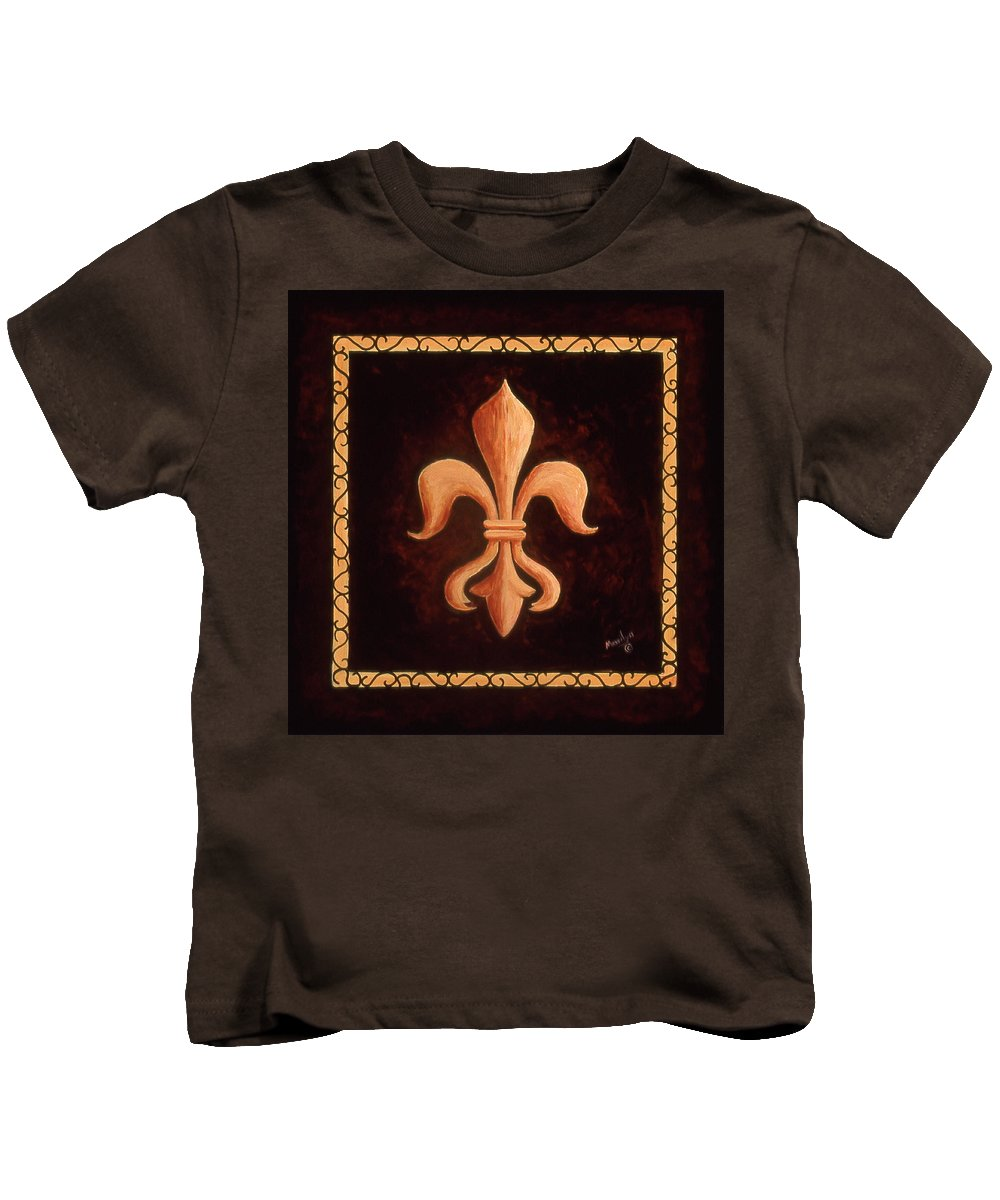 French Symbols Kids T-Shirt featuring the painting Fleur De Lys-king Louis Xv by Marilyn Dunlap