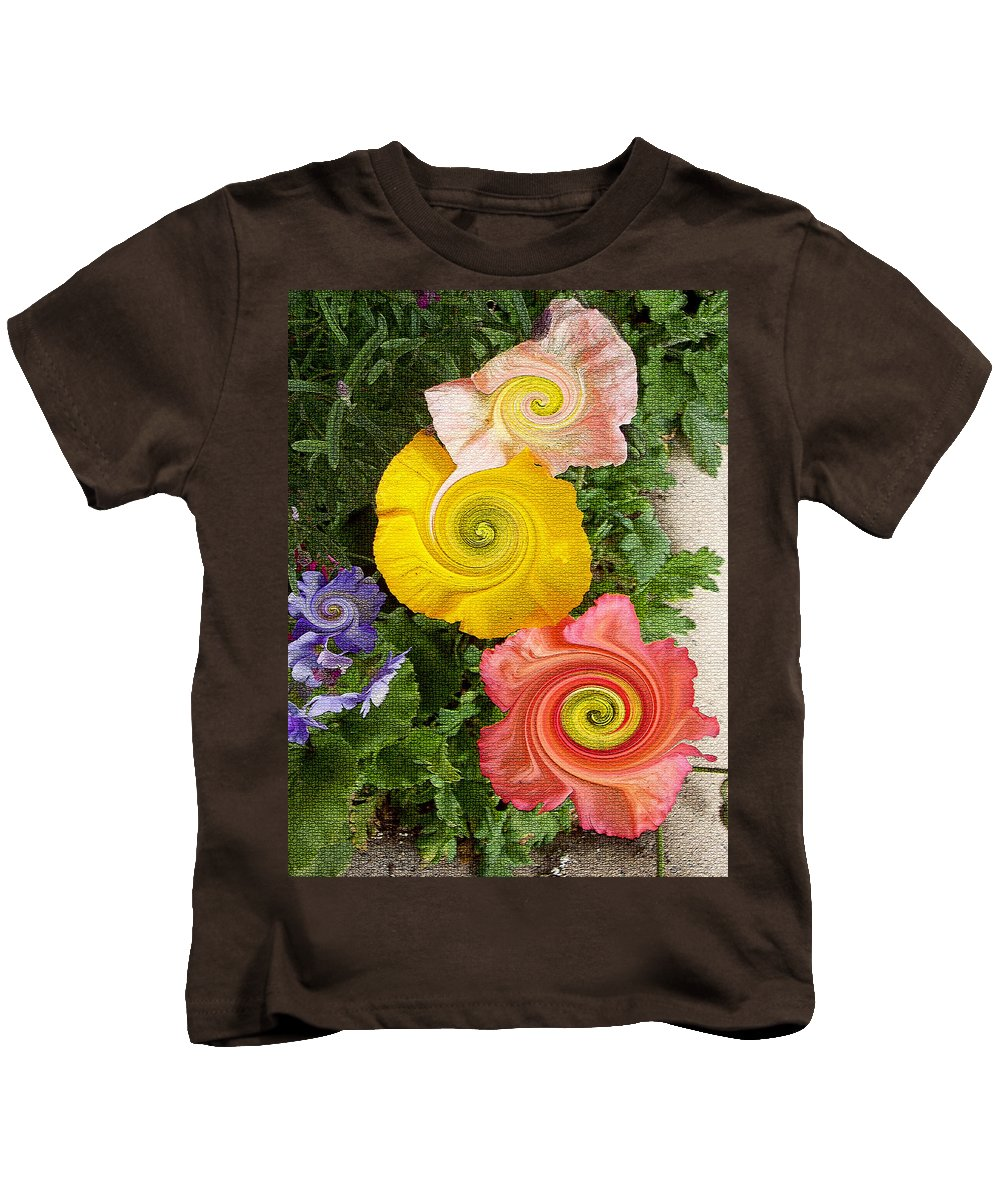 Floral Kids T-Shirt featuring the digital art Floral Kaleidoscope by Donna Blackhall