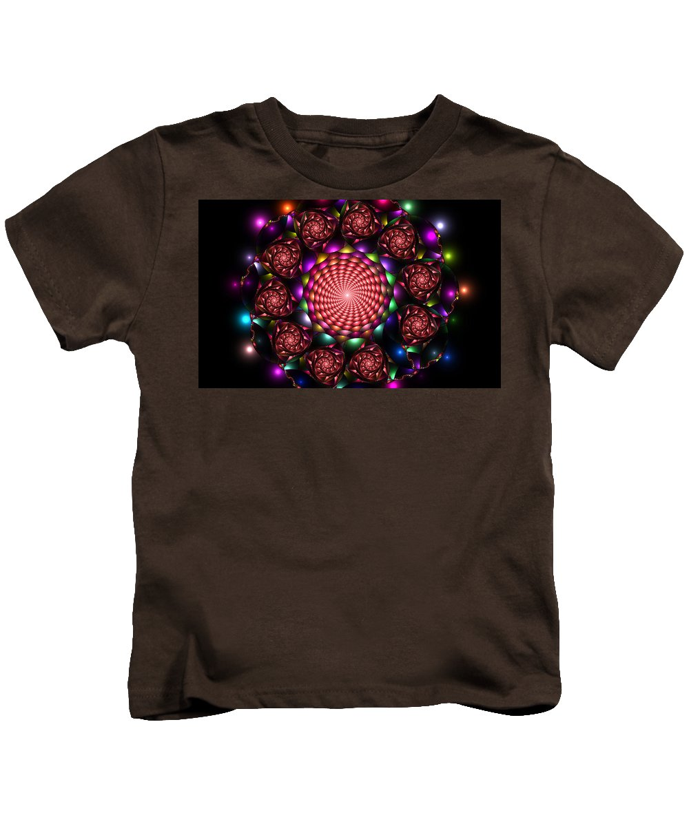 Elena Riim Kids T-Shirt featuring the digital art Floral Spiral by Elena Riim