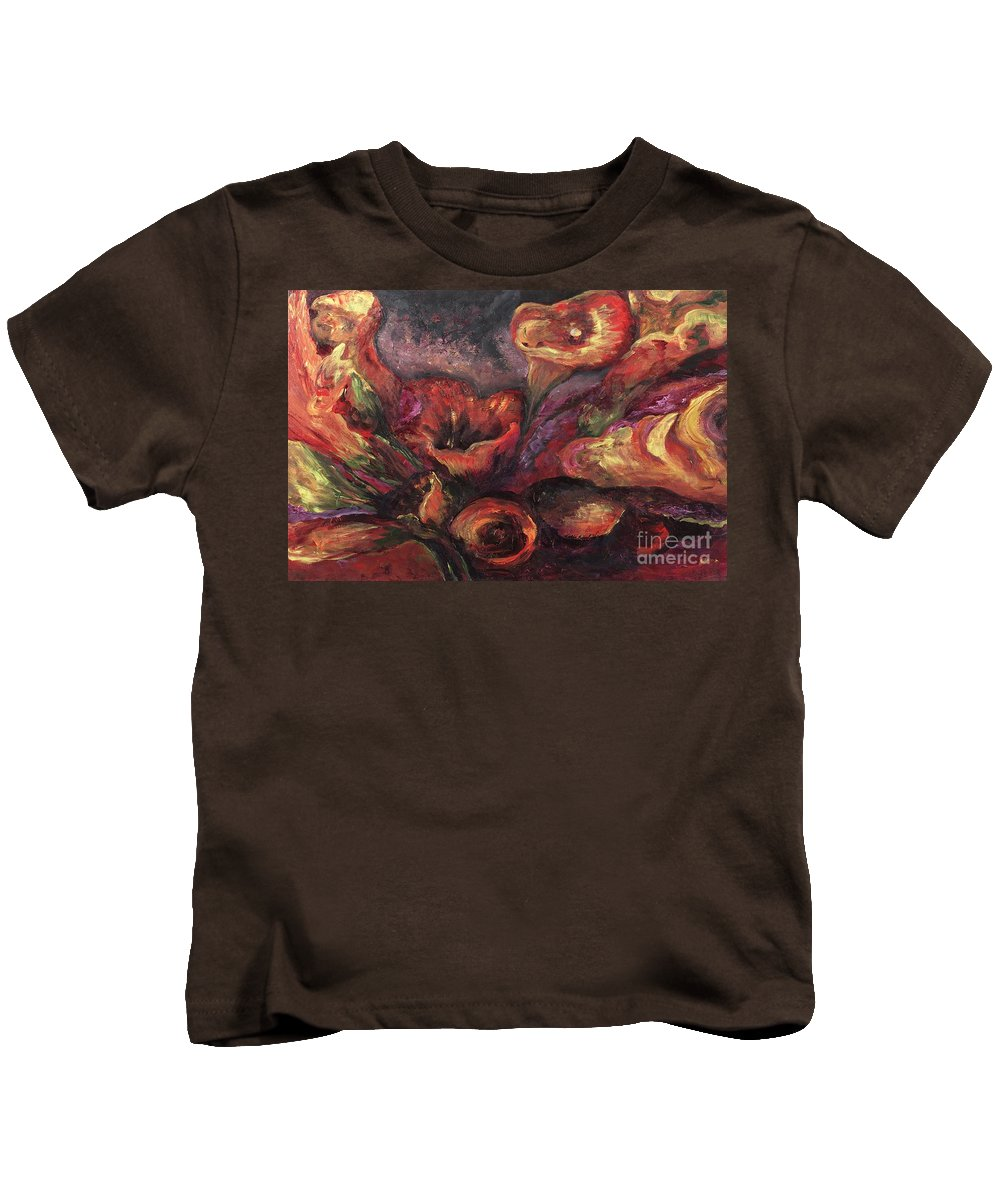 Calla Lilies Kids T-Shirt featuring the painting Floral Sun Worship by Nadine Rippelmeyer