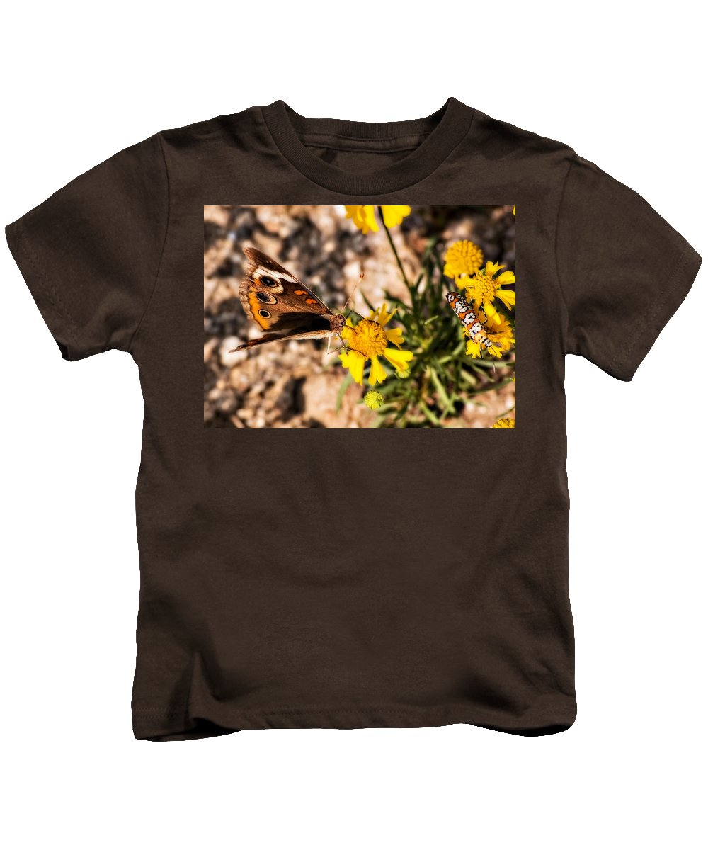 Butterfly Kids T-Shirt featuring the photograph Flower Power Bug And Butterfly by Gary Adkins