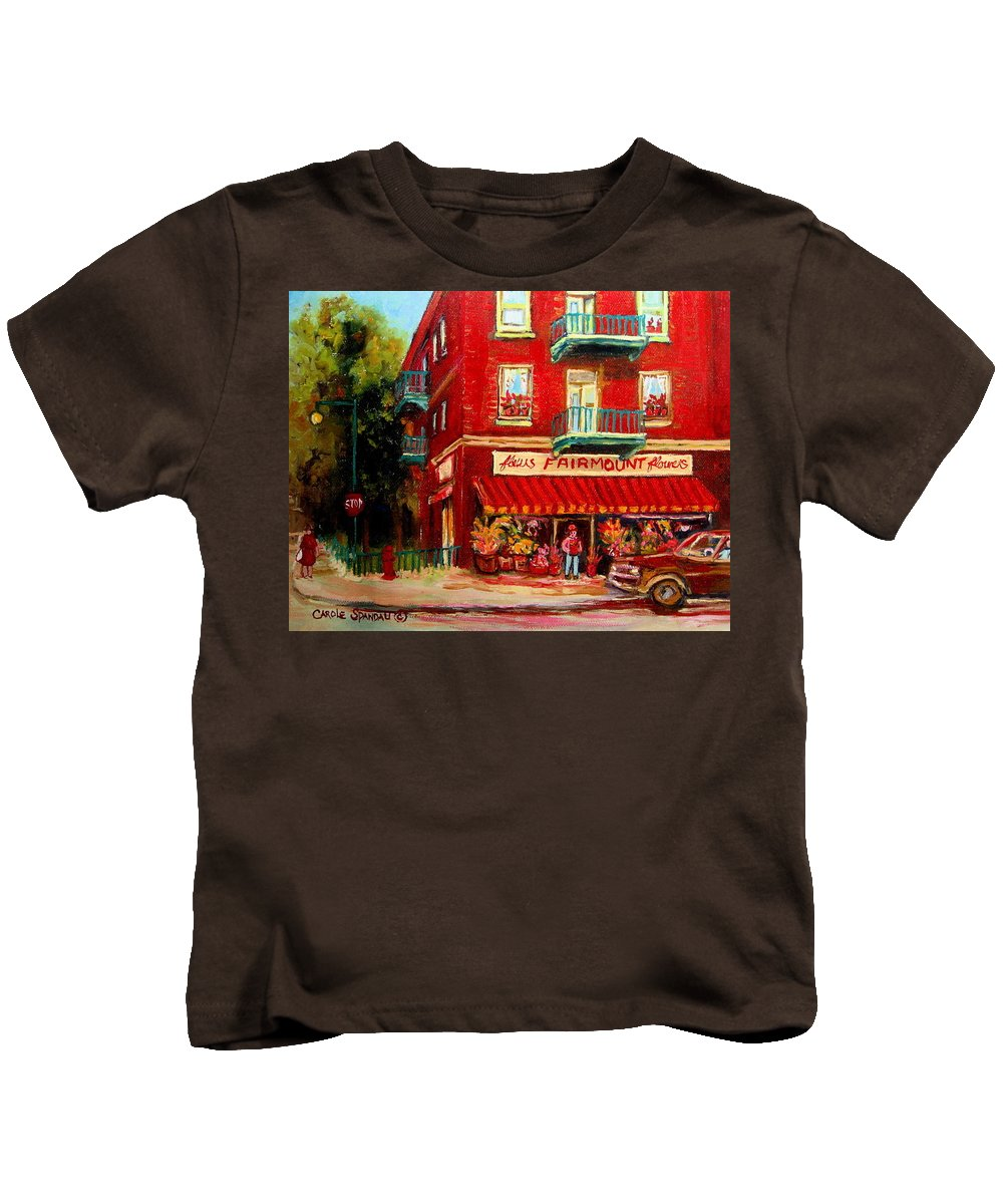 Fairmount Street Kids T-Shirt featuring the painting Flower Shop On The Corner by Carole Spandau