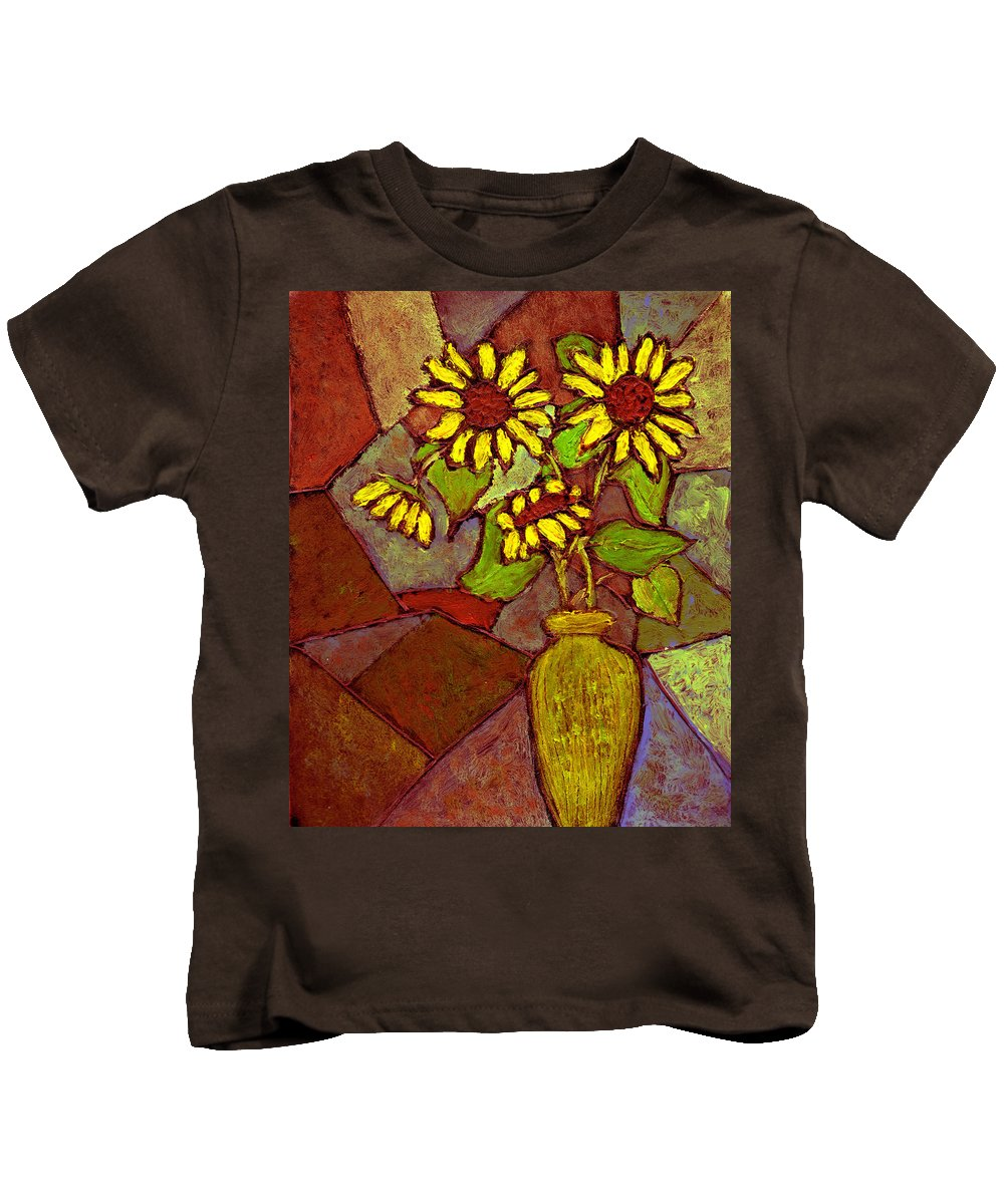 Sunflowers Kids T-Shirt featuring the painting Flowers In Vase Altered by Wayne Potrafka