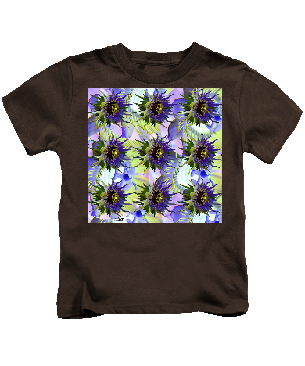 Flower Kids T-Shirt featuring the digital art Flowers On The Wall by Betsy Knapp
