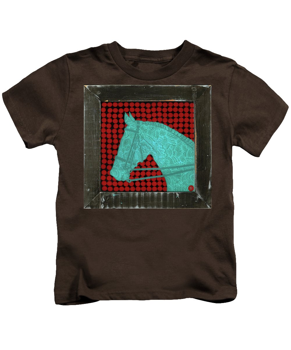 Folk Art Kids T-Shirt featuring the painting Tattooed Horse Beer Caps by Nicklos Richards