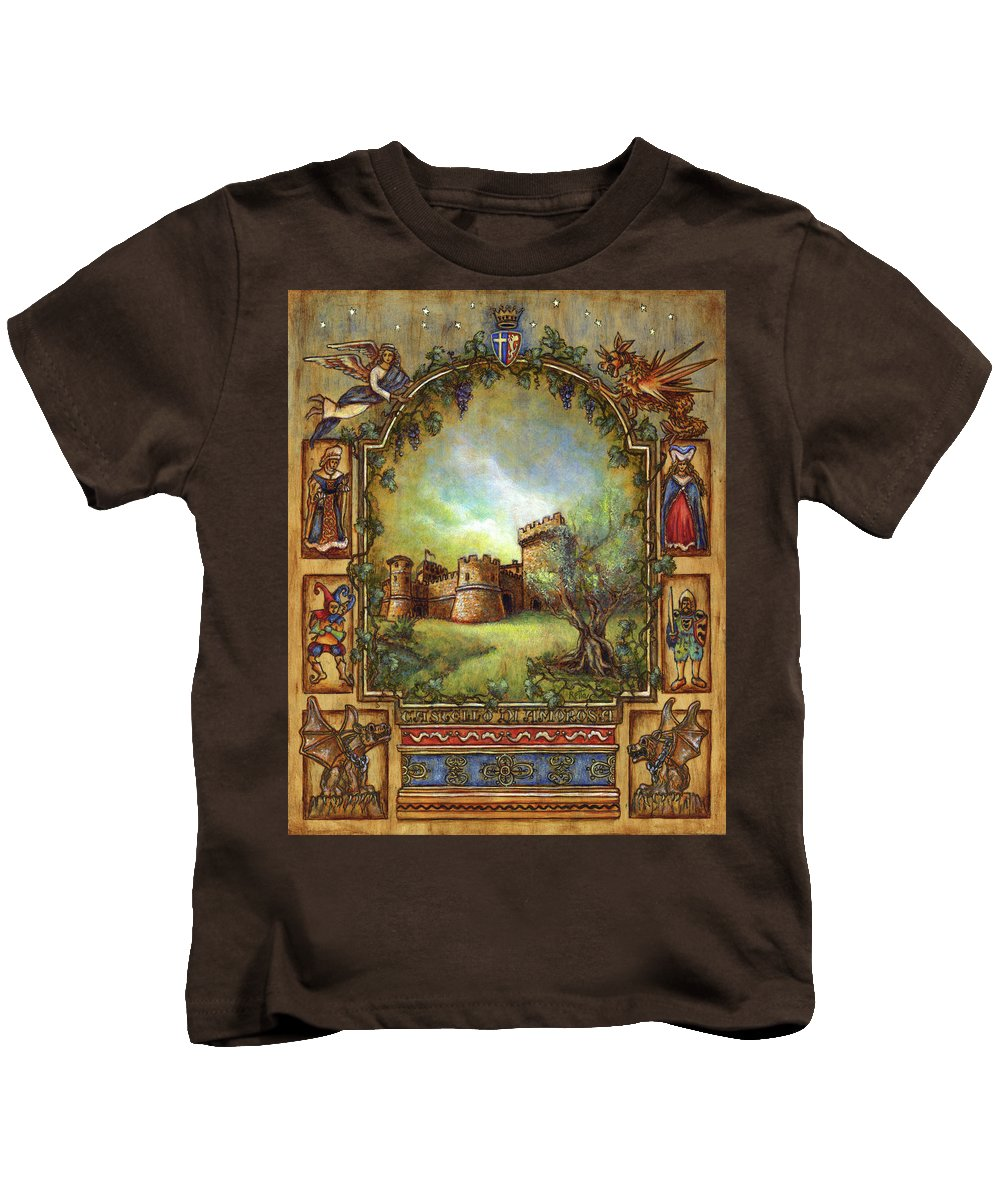 Landscape Kids T-Shirt featuring the painting For The Love Of Castles by Retta Stephenson