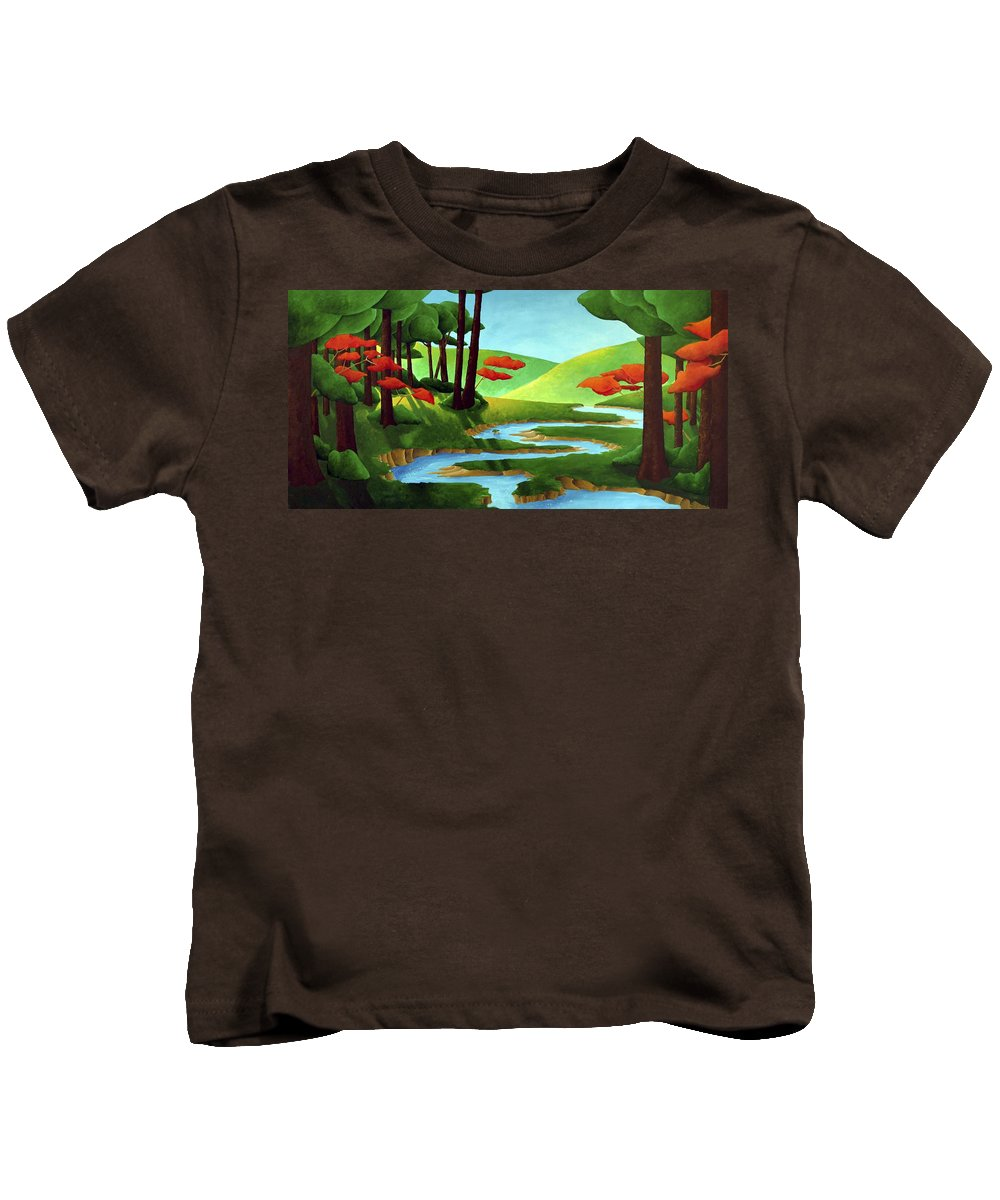 Landscape Kids T-Shirt featuring the painting Forest Stream - Through The Forest Series by Richard Hoedl