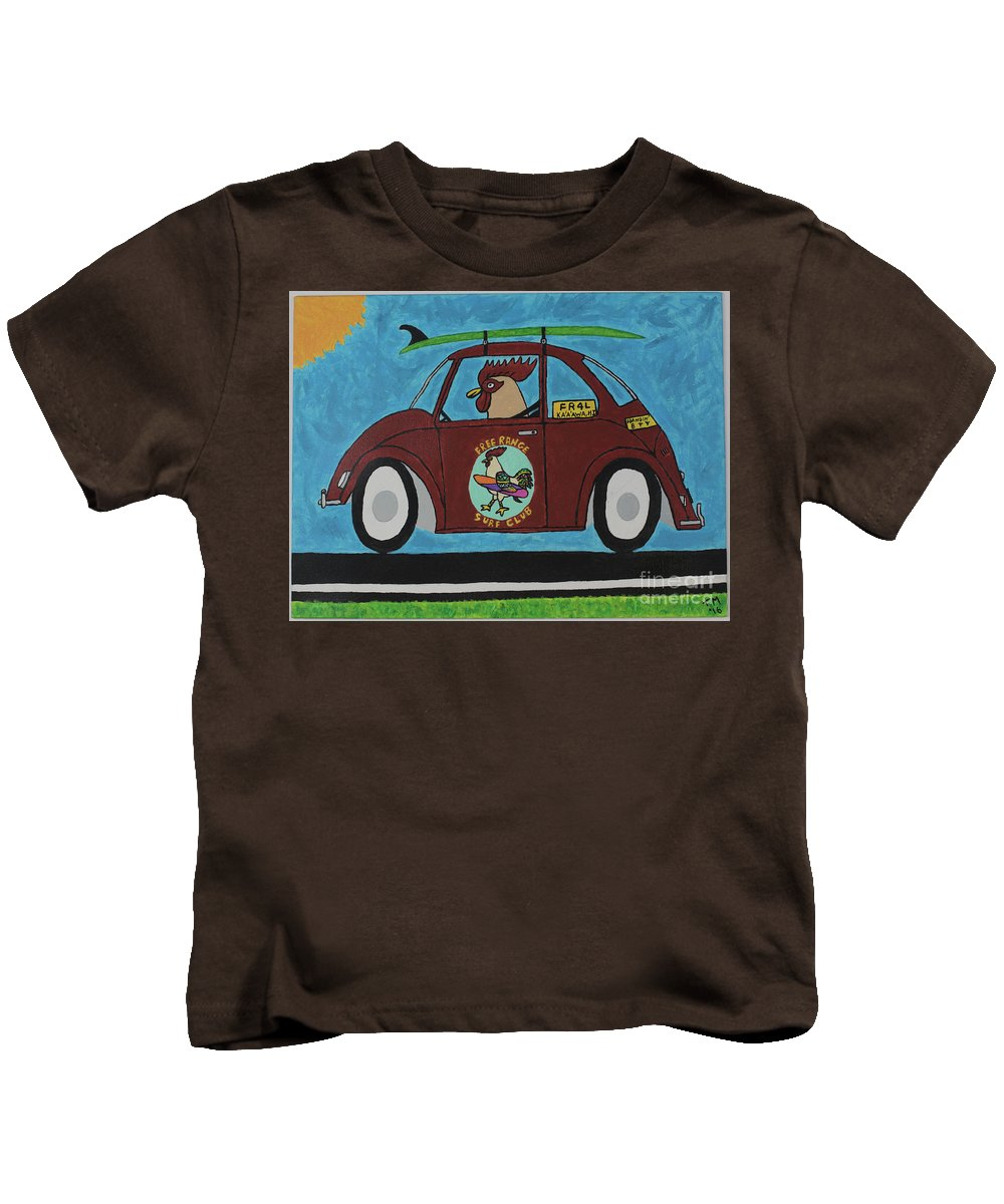 Vw Bug Kids T-Shirt featuring the painting Free Range Bug by Tami Maldonado
