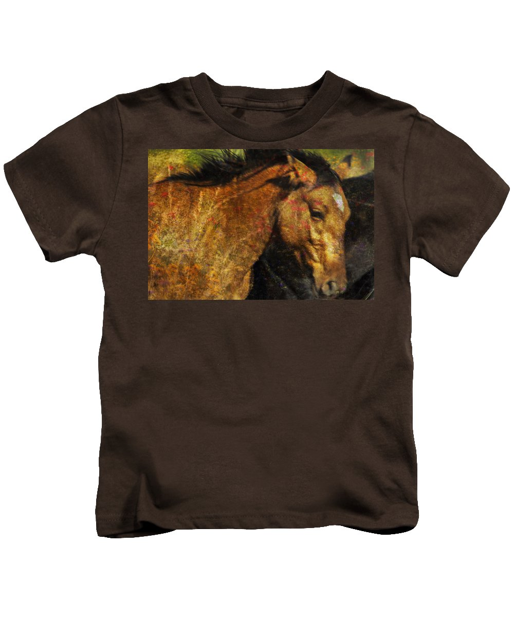 Pryor Mustangs Kids T-Shirt featuring the photograph Freedom Is Intrinsic by Belinda Greb