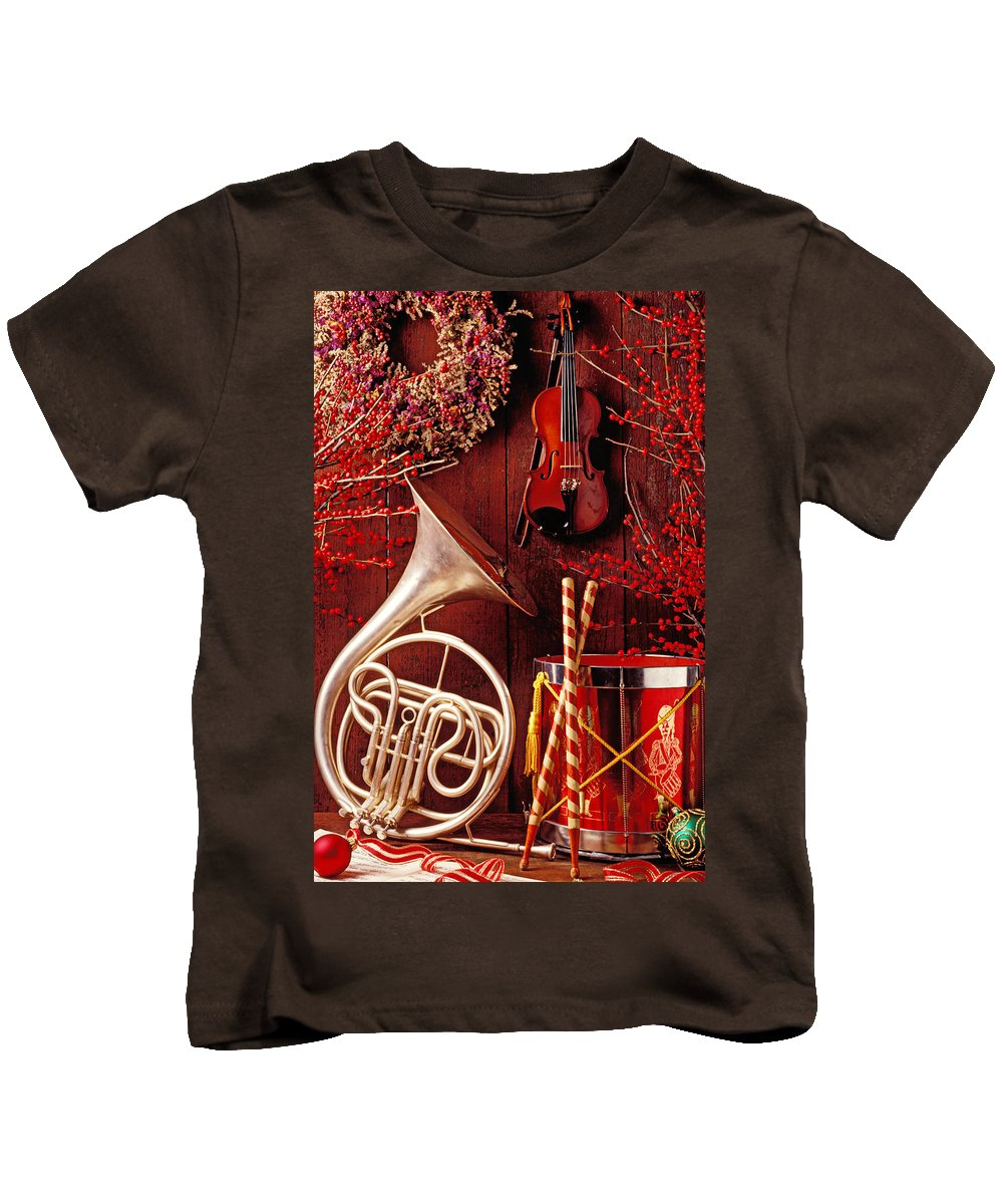 Violin Kids T-Shirt featuring the photograph French Horn Christmas Still Life by Garry Gay