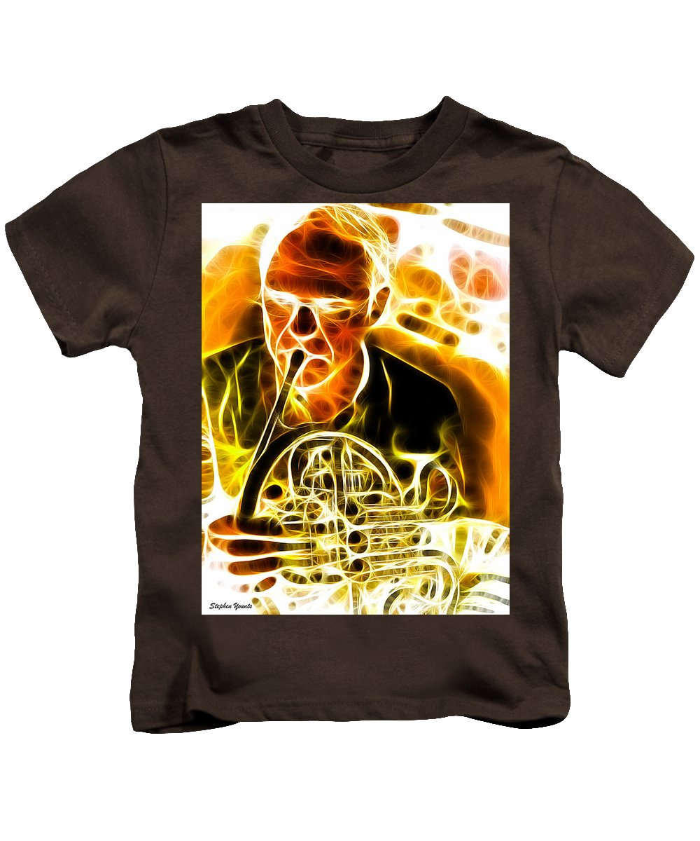 French Horn Kids T-Shirt featuring the digital art French Horn by Stephen Younts