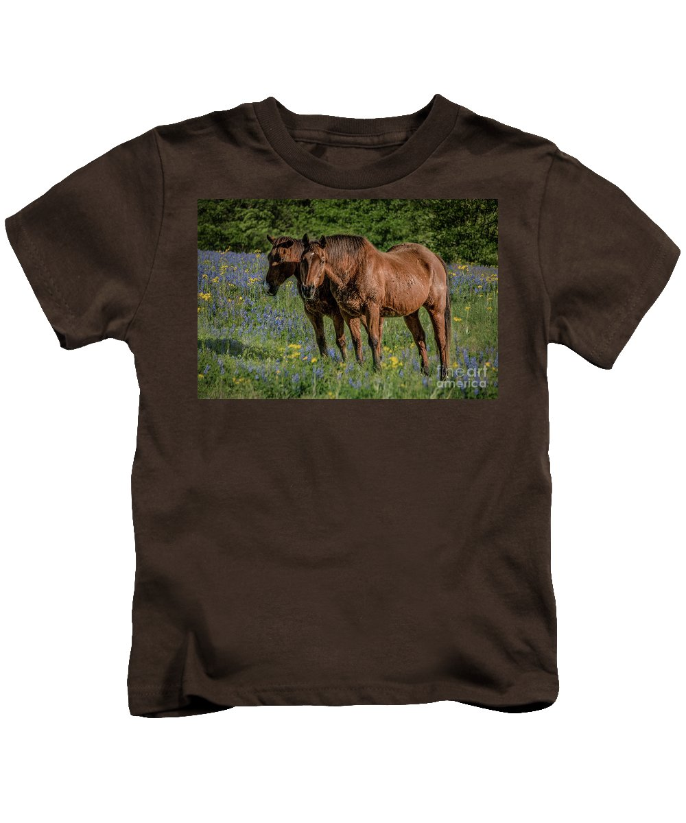Animal Kids T-Shirt featuring the photograph Friends In The Bluebonnets by Teresa Wilson
