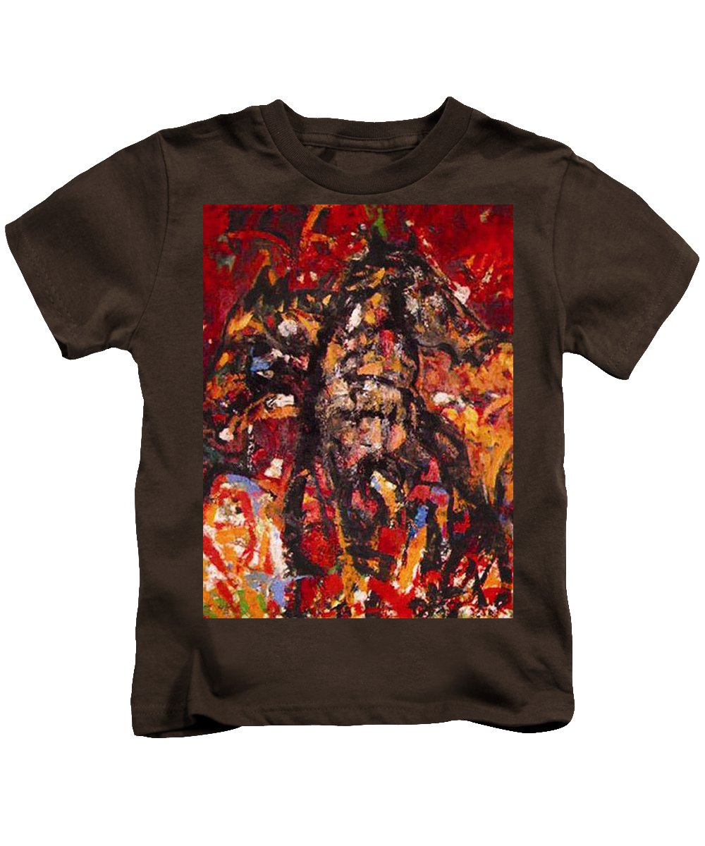 Horse Kids T-Shirt featuring the painting Frolicking Outdoors by Vladimir Vlahovic