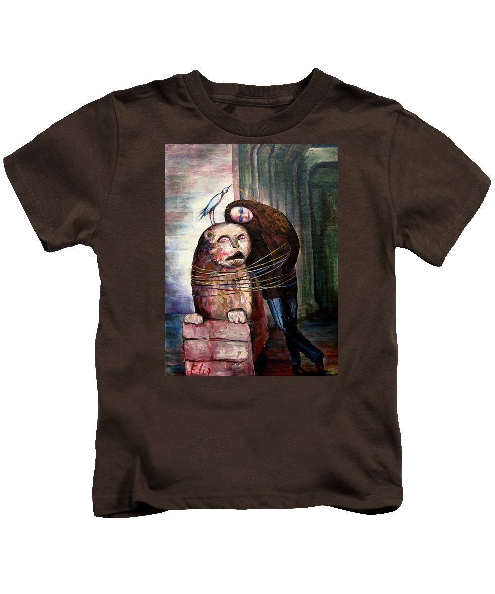Heat Kids T-Shirt featuring the painting From Flesh To Stone by Elisheva Nesis