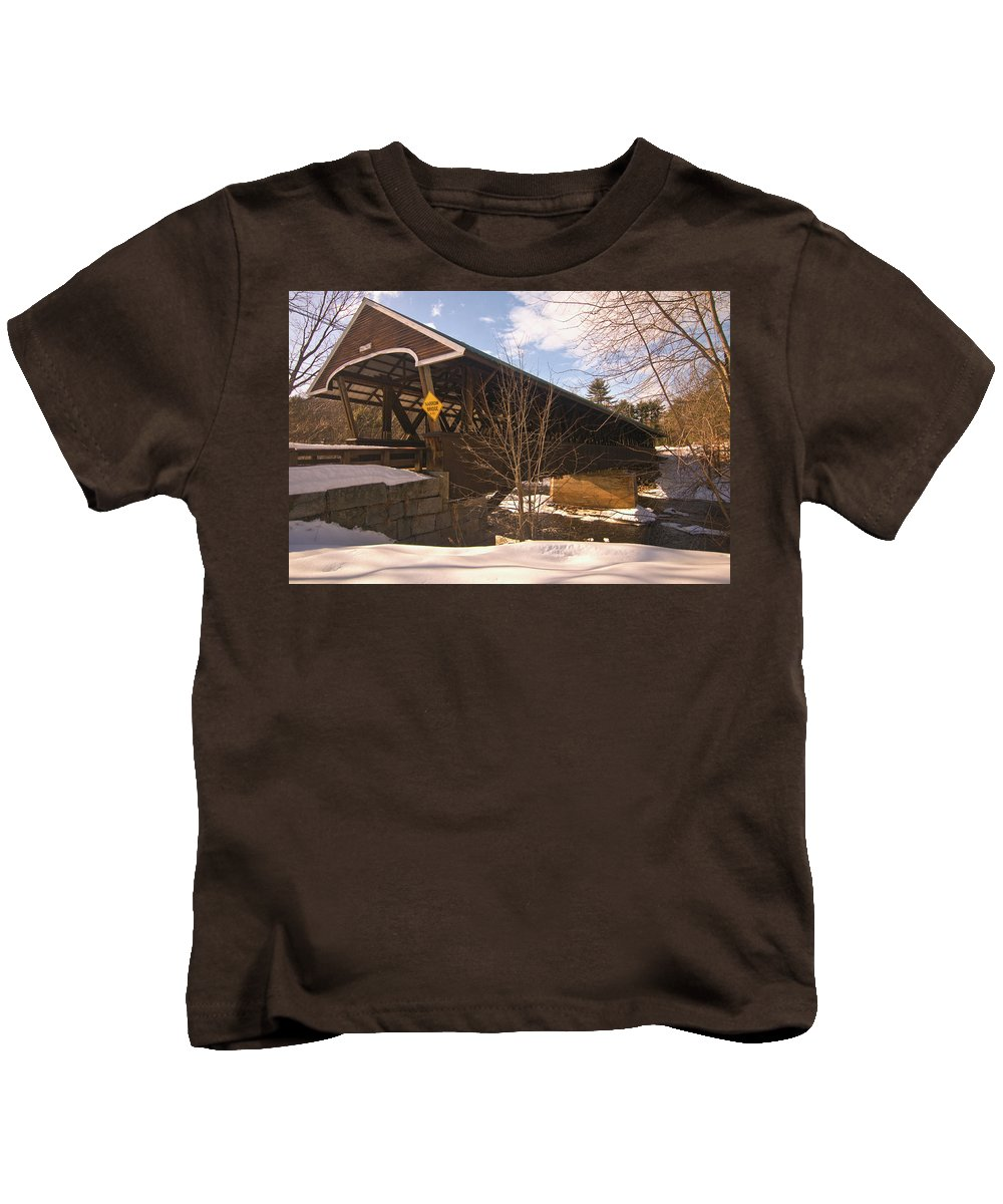 new England Covered Bridges Kids T-Shirt featuring the photograph From Here To There by Paul Mangold