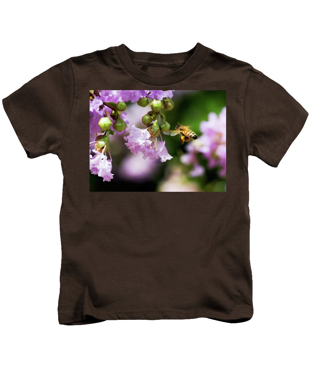 Honey Bee Kids T-Shirt featuring the photograph Fully Loaded by Betty LaRue