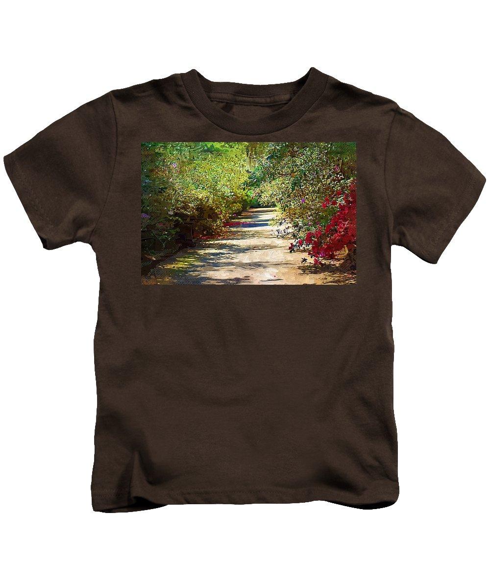 Gardens Kids T-Shirt featuring the photograph Garden Hideaway by Donna Bentley