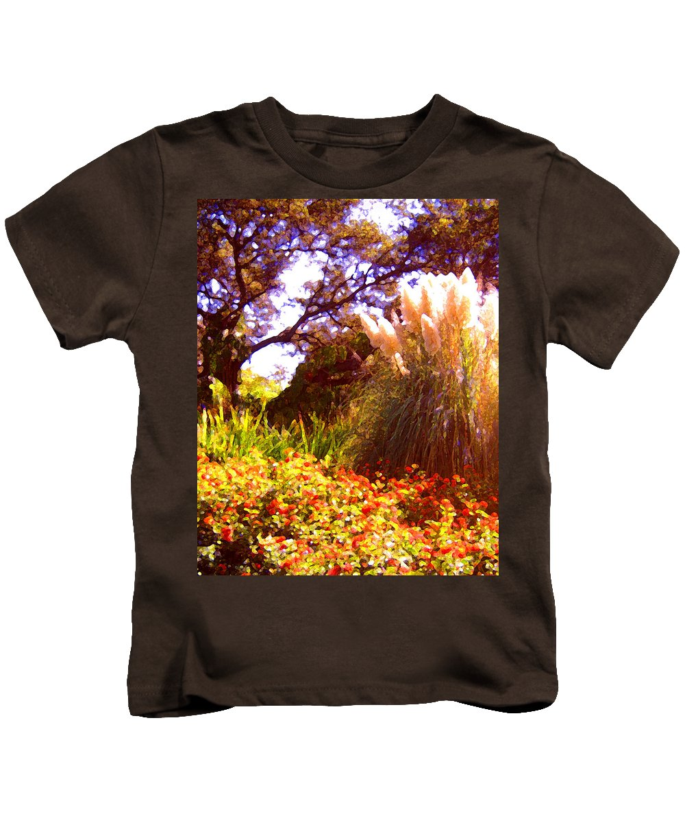 Landscapes Kids T-Shirt featuring the painting Garden Landscape by Amy Vangsgard