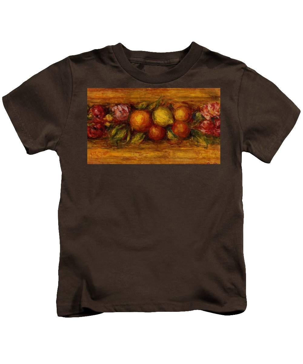 Garland Kids T-Shirt featuring the painting Garland Of Fruit And Flowers 1915 by Renoir PierreAuguste