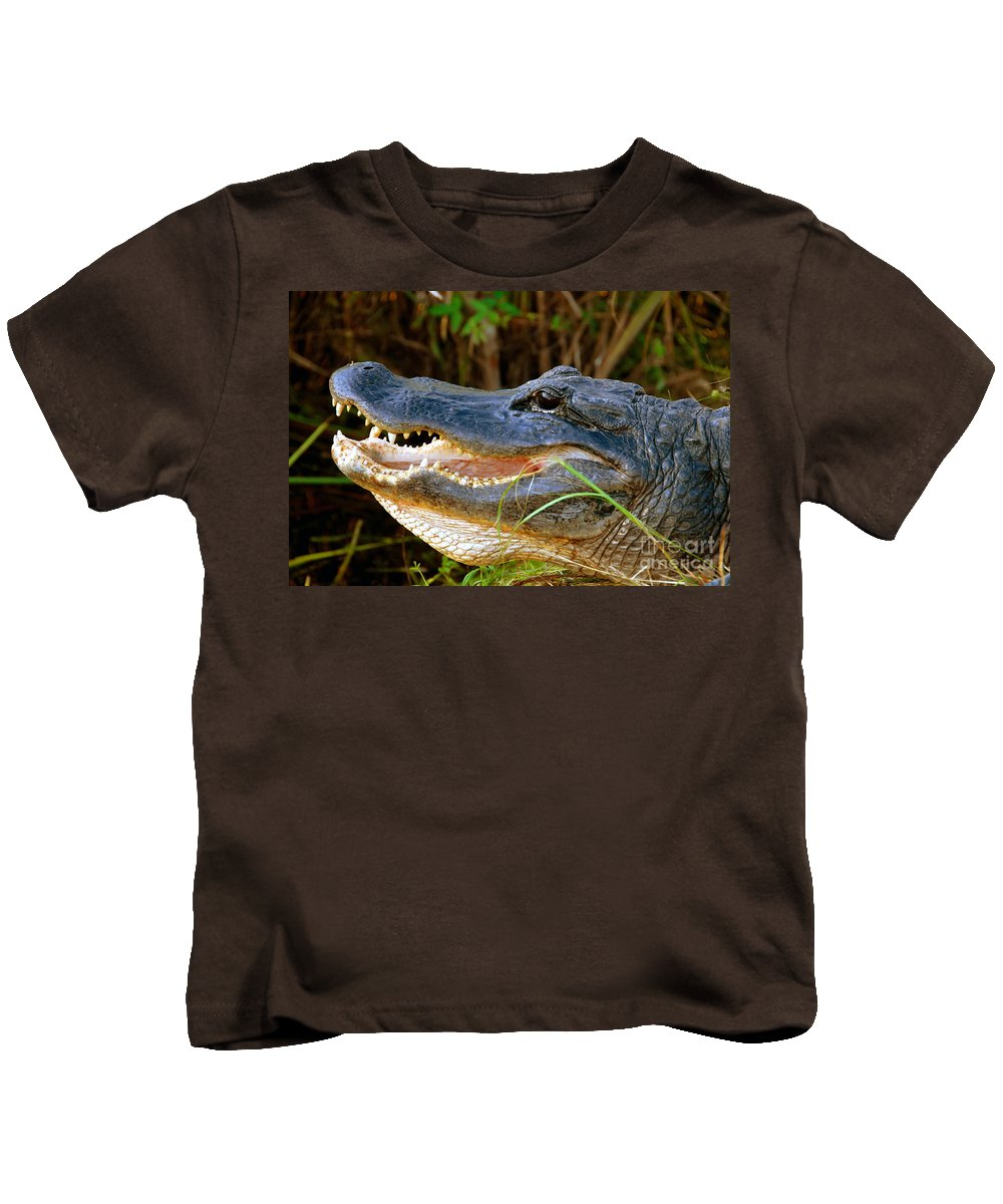 Alligator Kids T-Shirt featuring the photograph Gator Head by David Lee Thompson