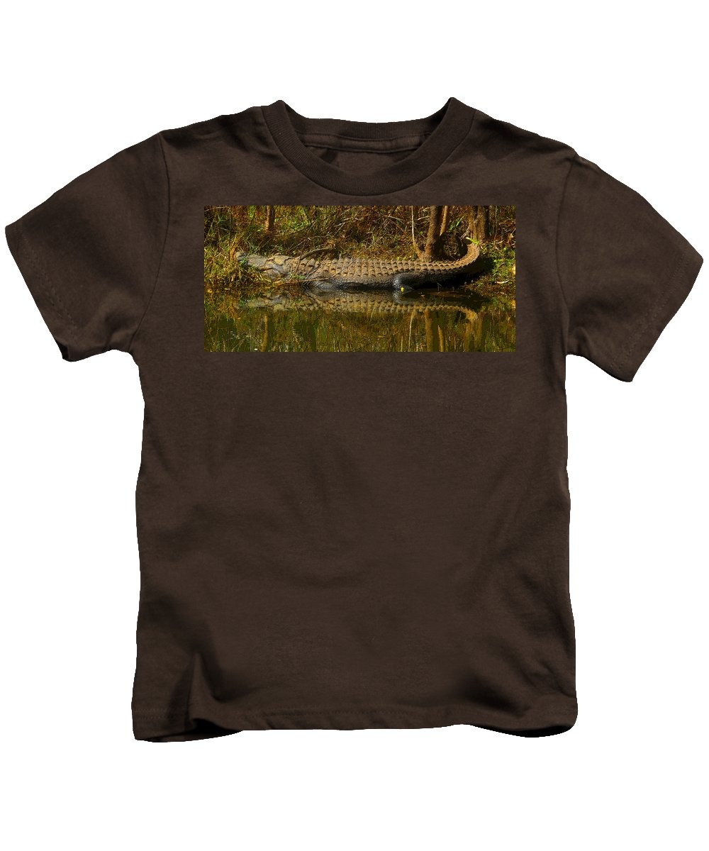 Art Kids T-Shirt featuring the painting Gator Relection by David Lee Thompson