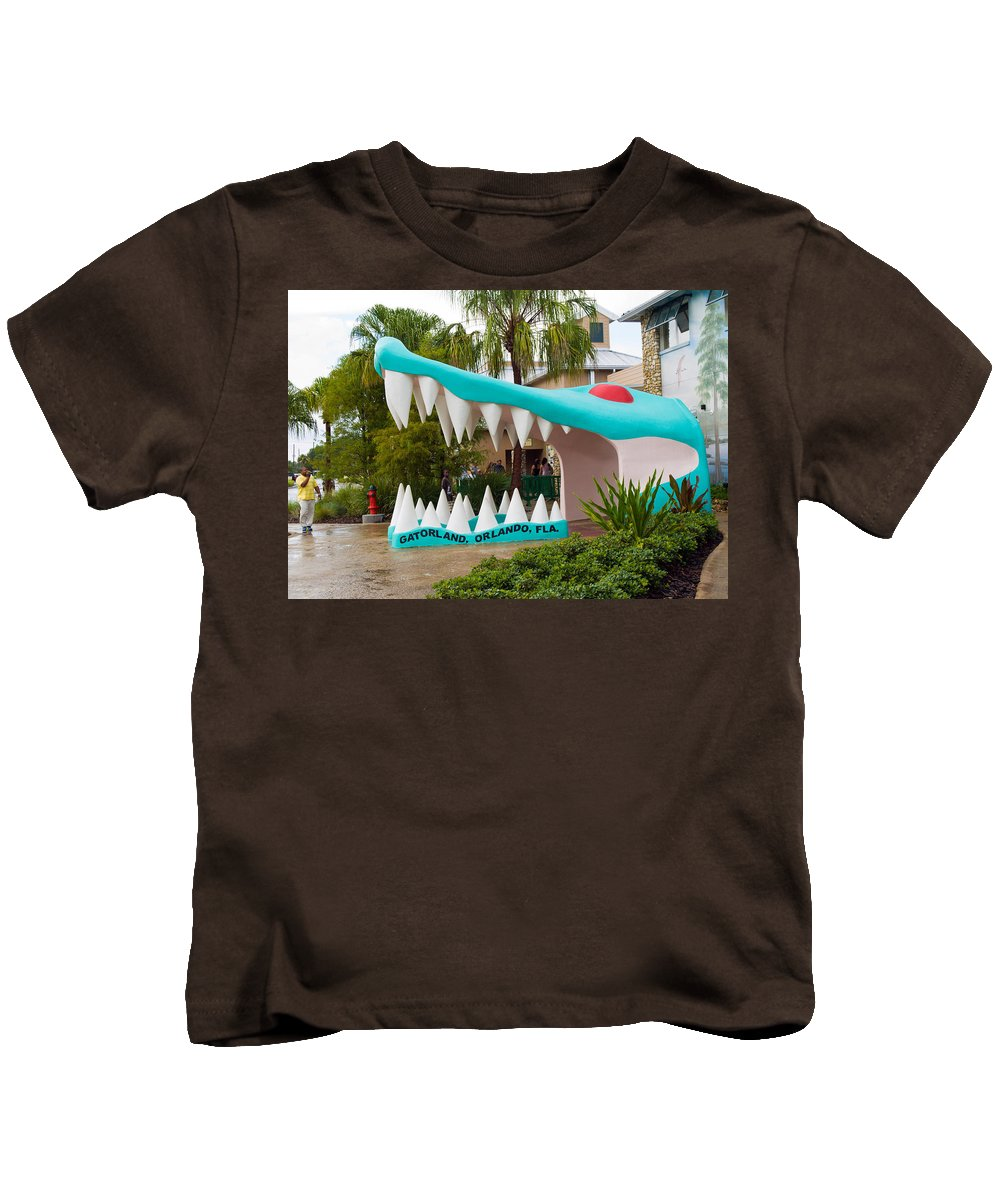 Kids T-Shirt featuring the photograph Gatorland In Kissimmee Is Just South Of Orlando In Florida by Allan Hughes