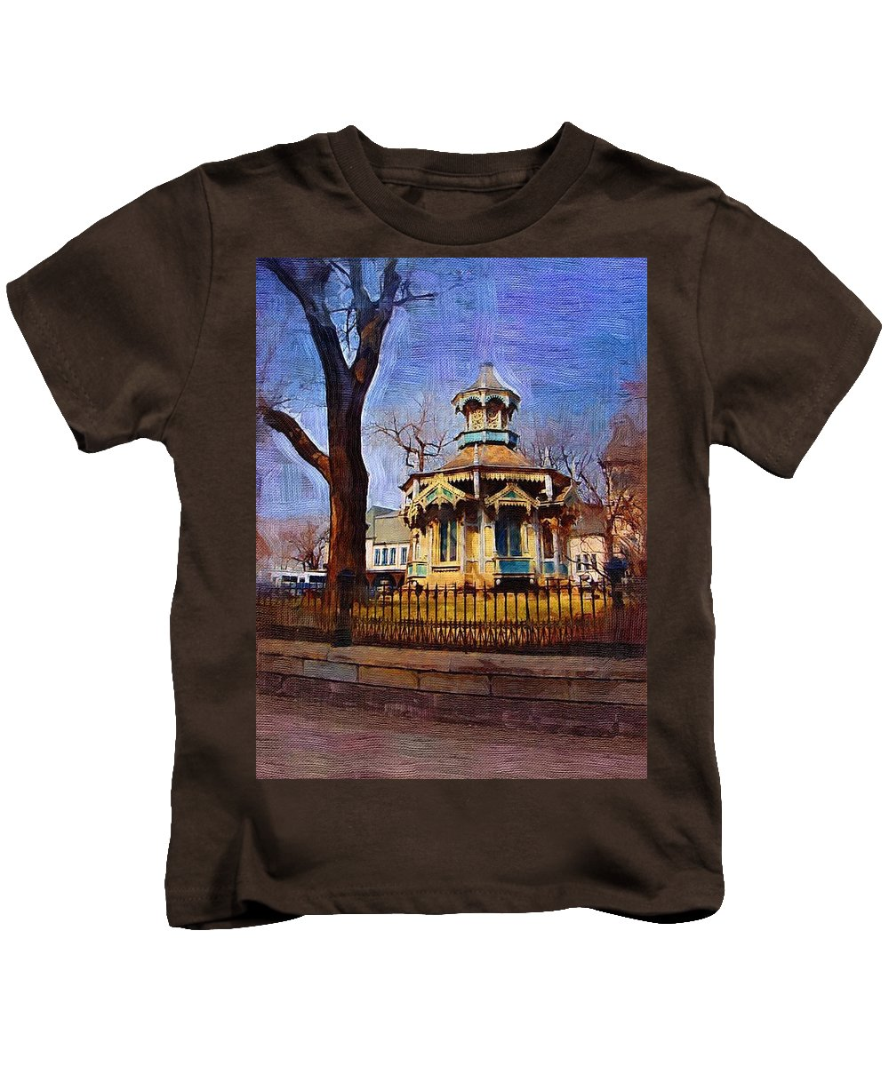 Architecture Kids T-Shirt featuring the digital art Gazebo And Tree by Anita Burgermeister