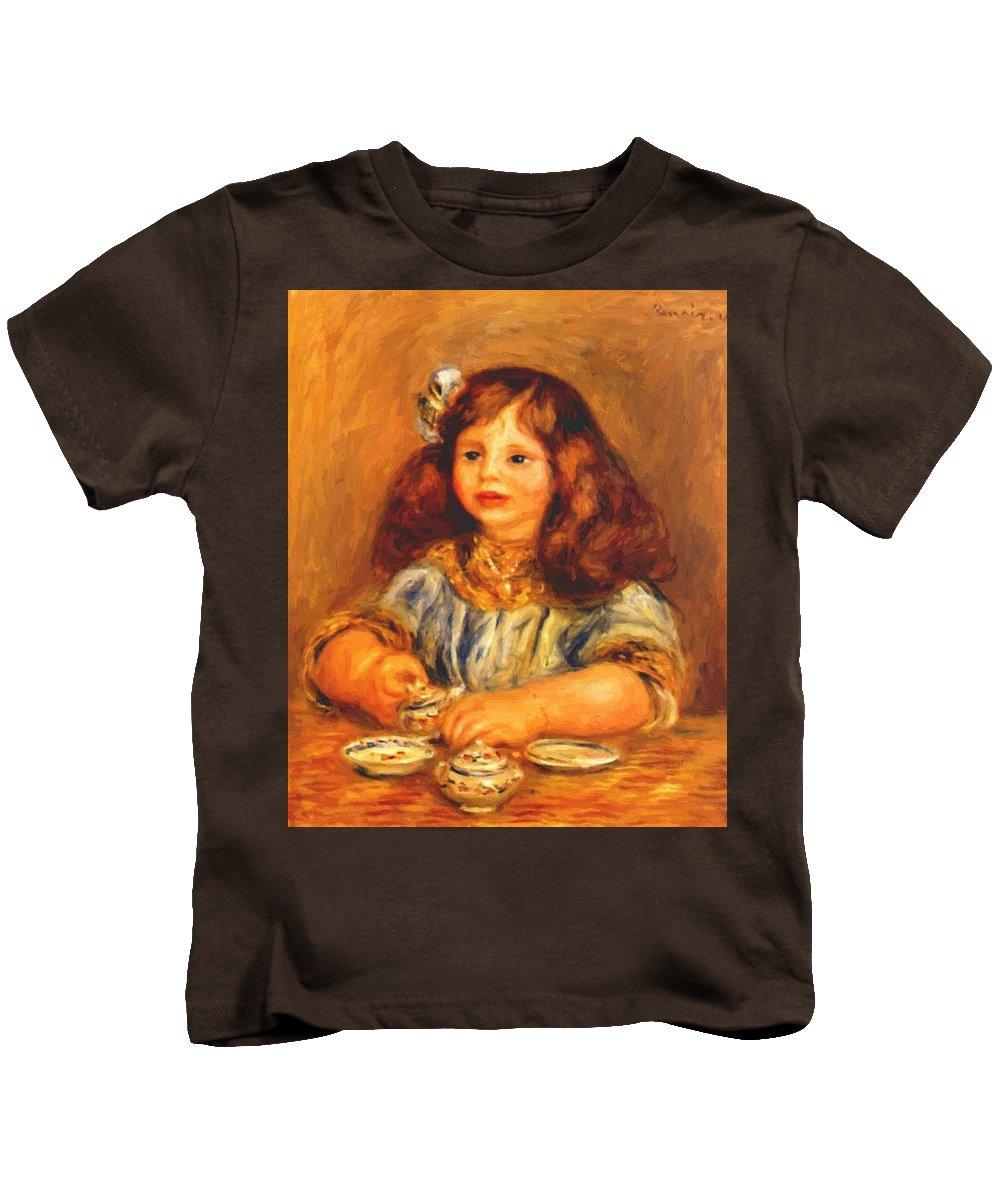 Genevieve Kids T-Shirt featuring the painting Genevieve Bernheim De Villers 1910 by Renoir PierreAuguste
