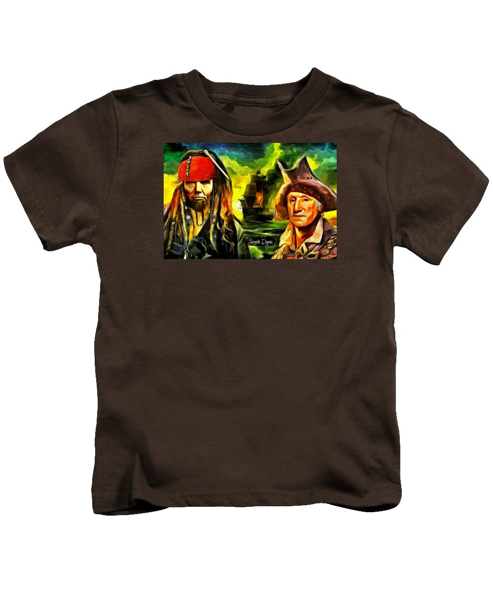 Abraham Lincoln Kids T-Shirt featuring the painting George Washington And Abraham Lincoln The Pirates by Leonardo Digenio