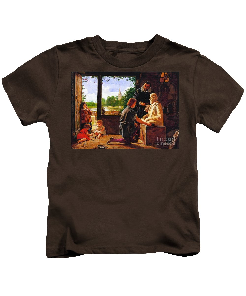 Henry Wallis - Gerard Johnson Carving Shakespeare's Funerary Monument 1857 Kids T-Shirt featuring the painting Gerard Johnson Carving Shakespear by MotionAge Designs