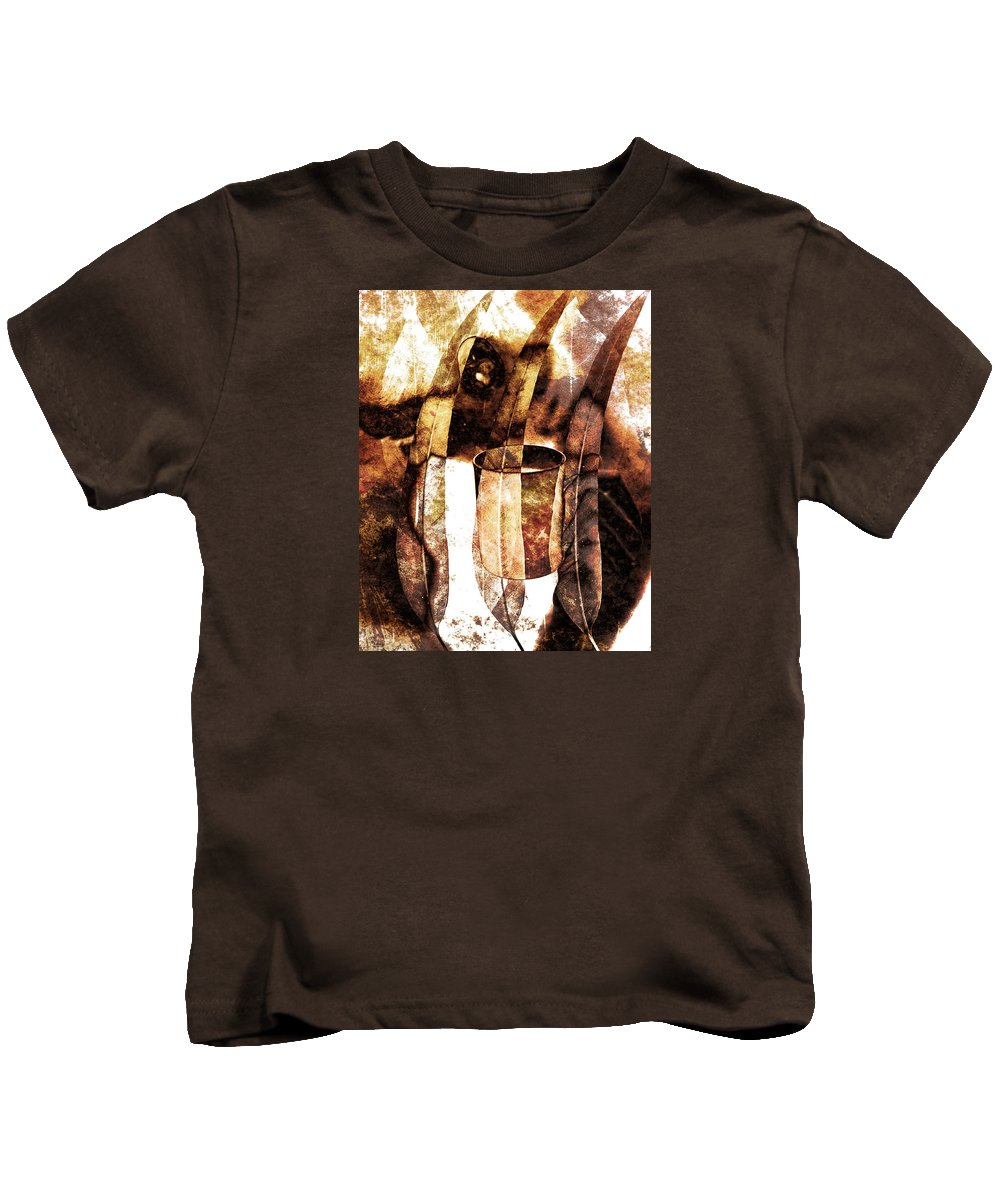 Nature Kids T-Shirt featuring the painting Woman In Fall by Hamidreza Pirayesh