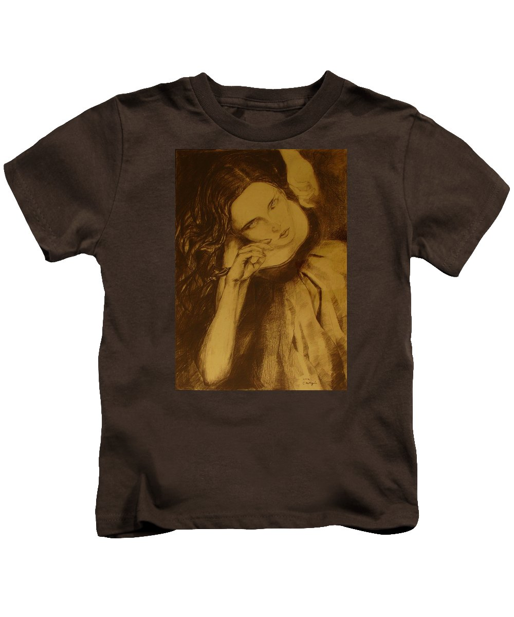 Art Drawings Kids T-Shirt featuring the drawing Girl Dancing by Cristina Rettegi