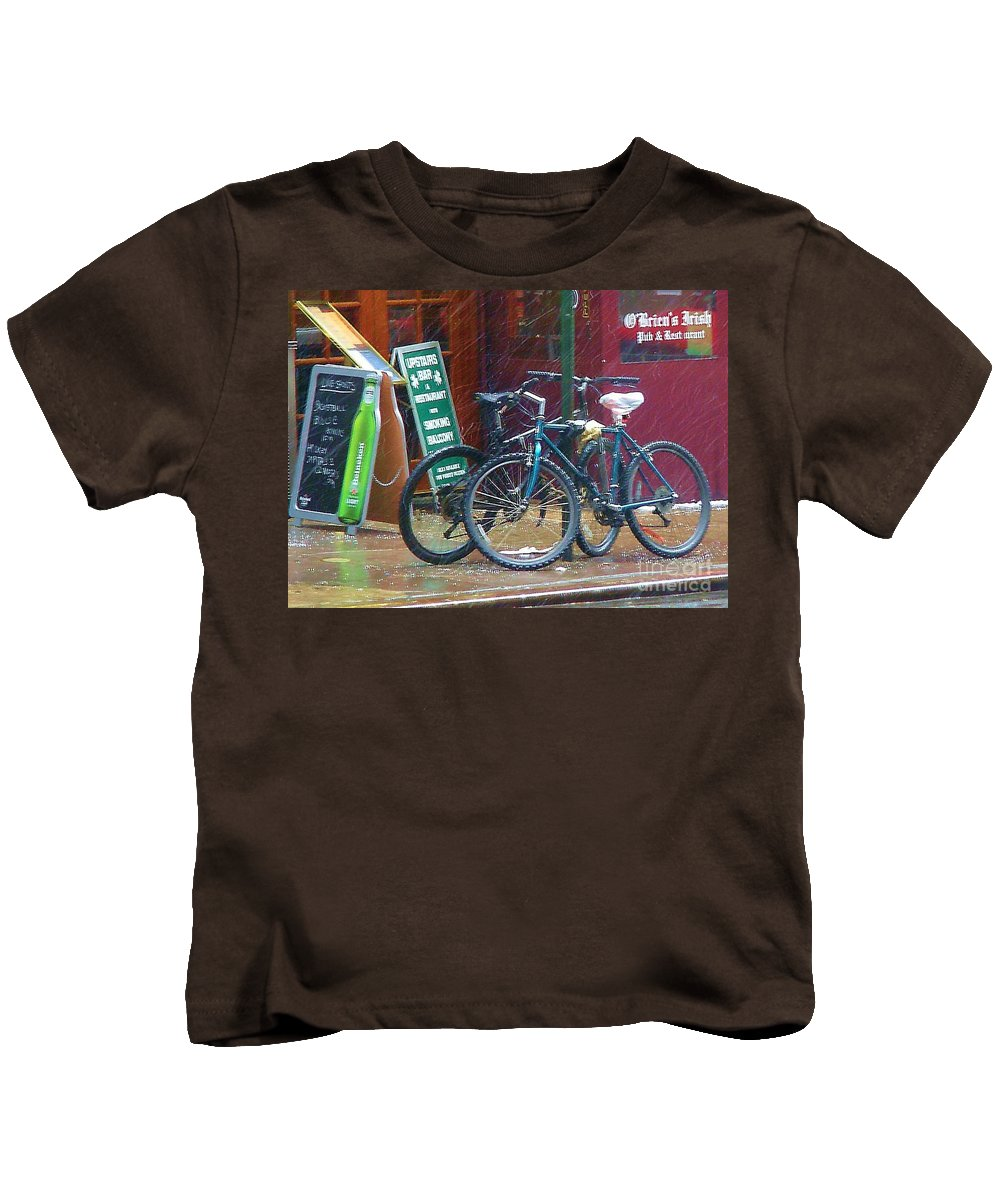 Bike Kids T-Shirt featuring the photograph Give Me Shelter by Debbi Granruth
