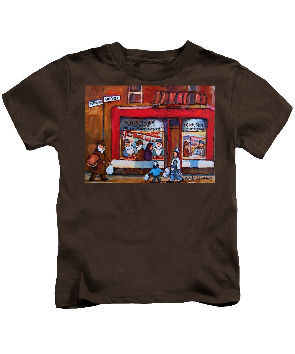 Montreal Street Scene Kids T-Shirt featuring the painting Glatts Kosher Meatmarket And Tailor Shop by Carole Spandau