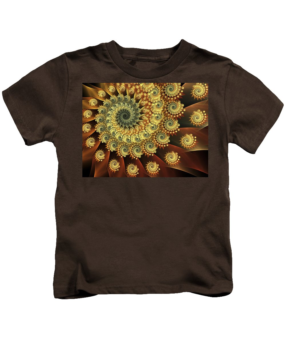 Fractal Art Kids T-Shirt featuring the digital art Glowing Amber by Amorina Ashton