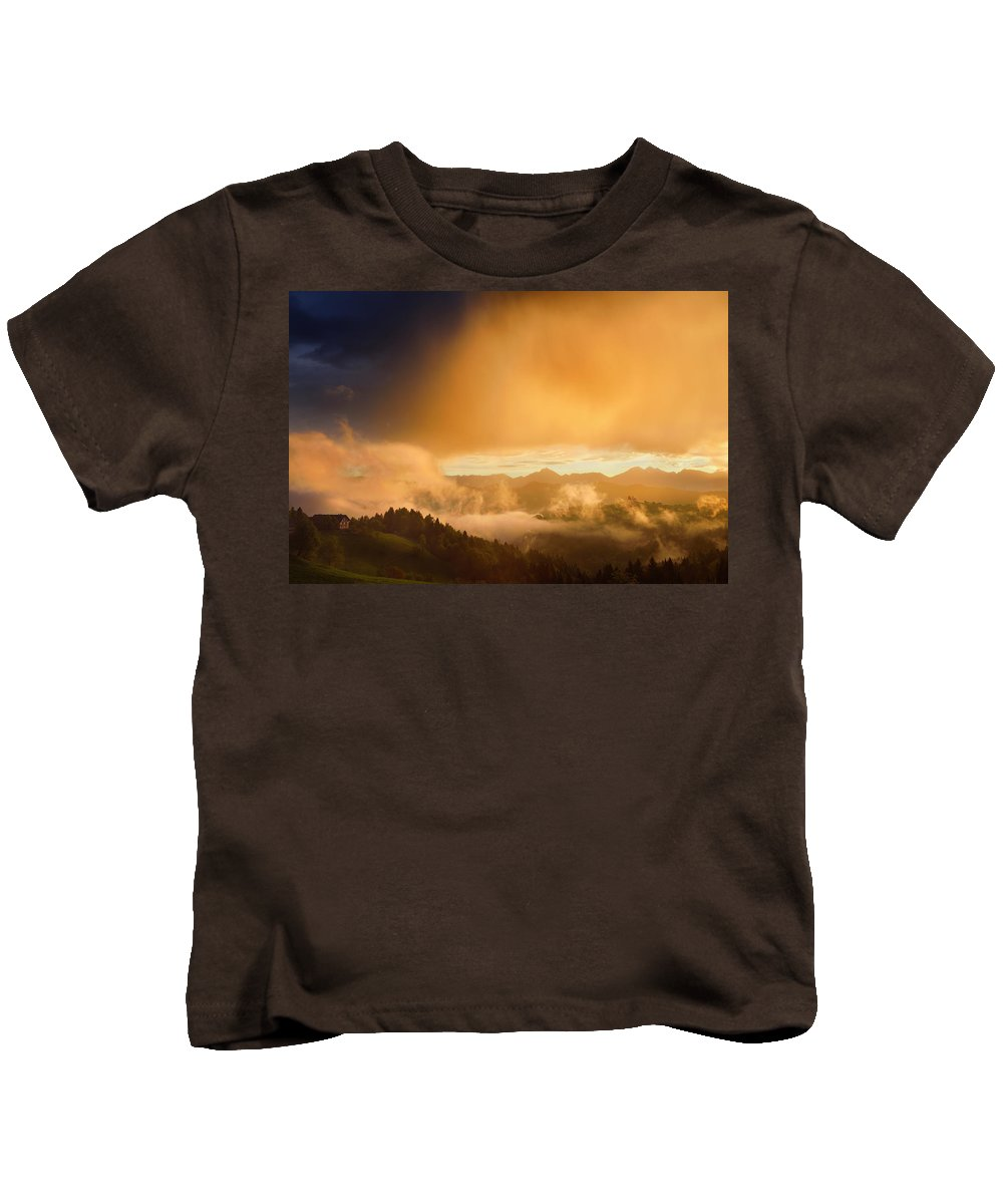 Golden Kids T-Shirt featuring the photograph Golden Clouds And Fog At Sunrise In The Mountains Of Kamnik Savi by Reimar Gaertner