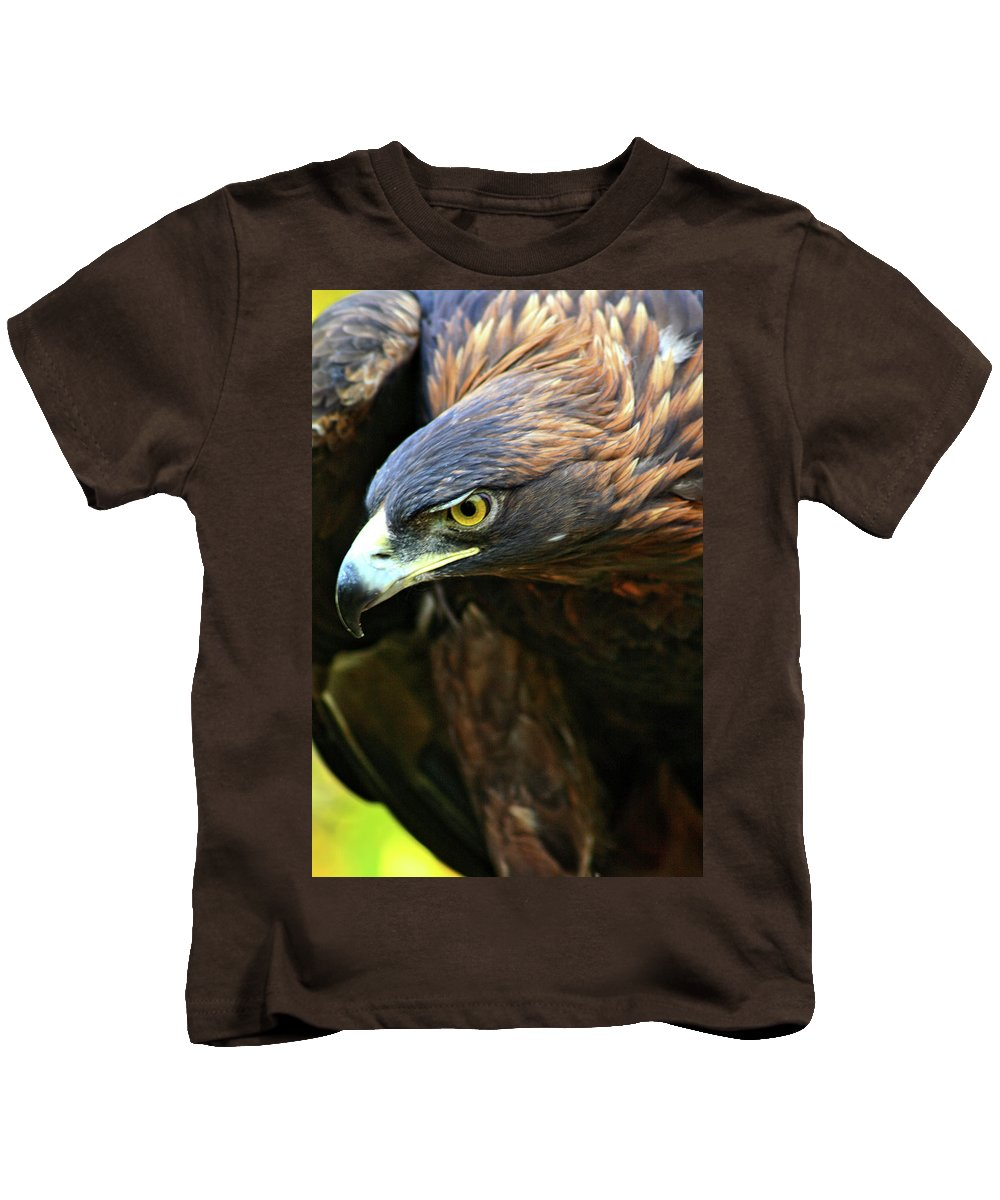 Golden Eagle Kids T-Shirt featuring the photograph Golden Eye by Scott Mahon