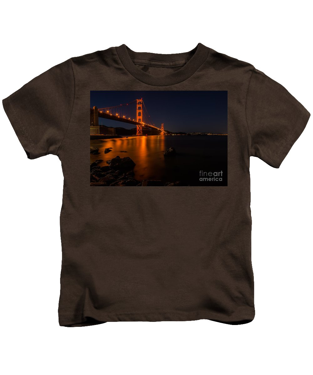 Landscapes Kids T-Shirt featuring the photograph Golden Gate At Night by Maricel Quesada