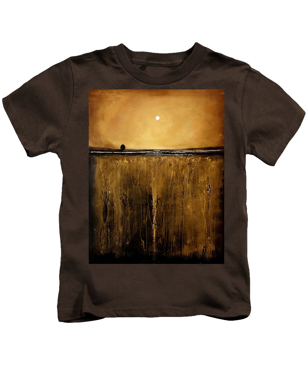 Minimalist Kids T-Shirt featuring the painting Golden Inspirations by Toni Grote