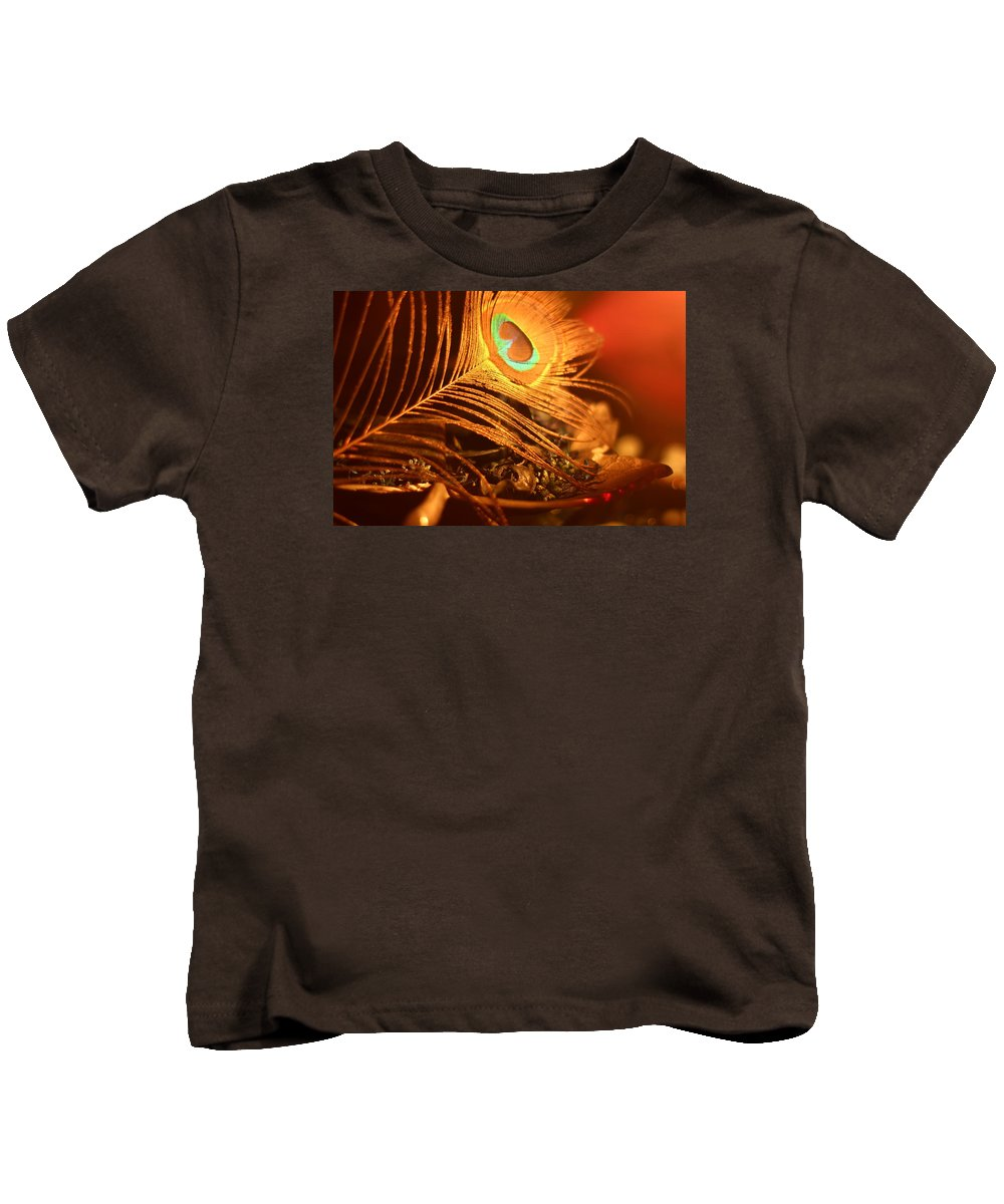 Feather Kids T-Shirt featuring the painting Golden Peacock Feather by Azzy Doon