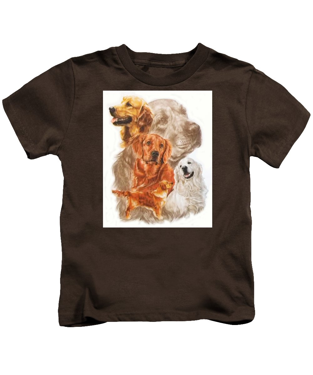 Retriever Kids T-Shirt featuring the mixed media Golden Retriever W/ghost by Barbara Keith