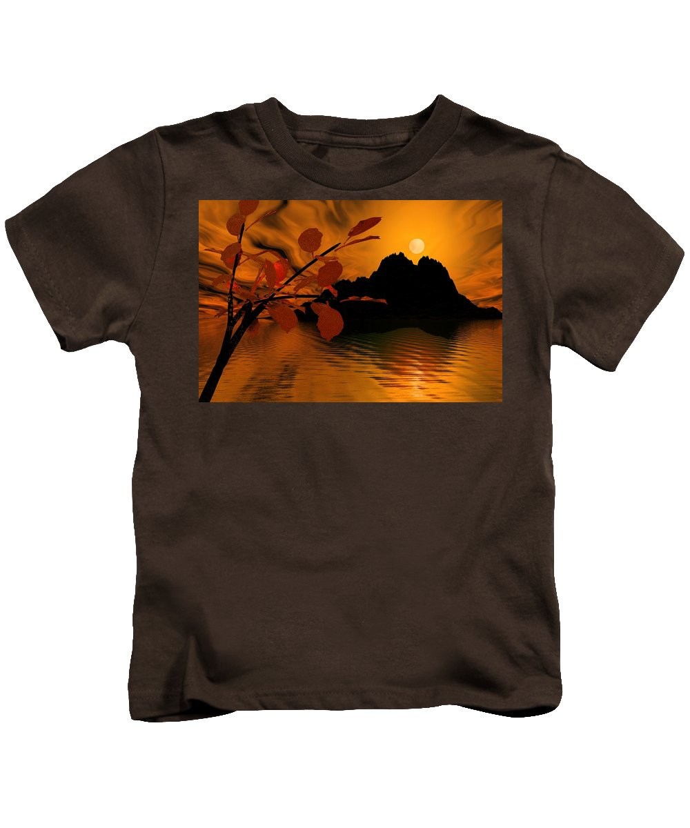 Landscape Kids T-Shirt featuring the digital art Golden Slumber Fills My Dreams. by David Lane