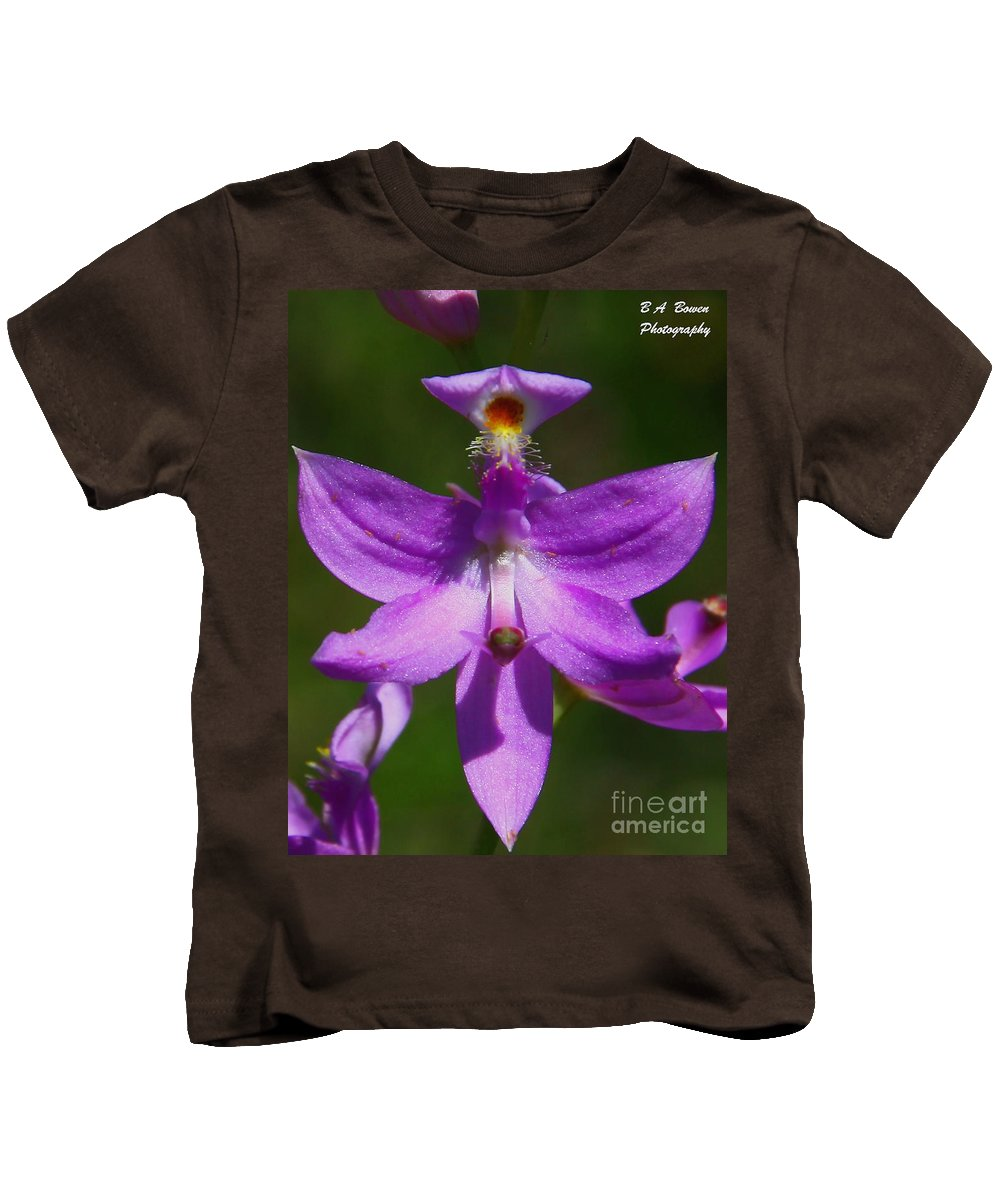 Grass Pink Orchid Kids T-Shirt featuring the photograph Grass Pink Orchid by Barbara Bowen