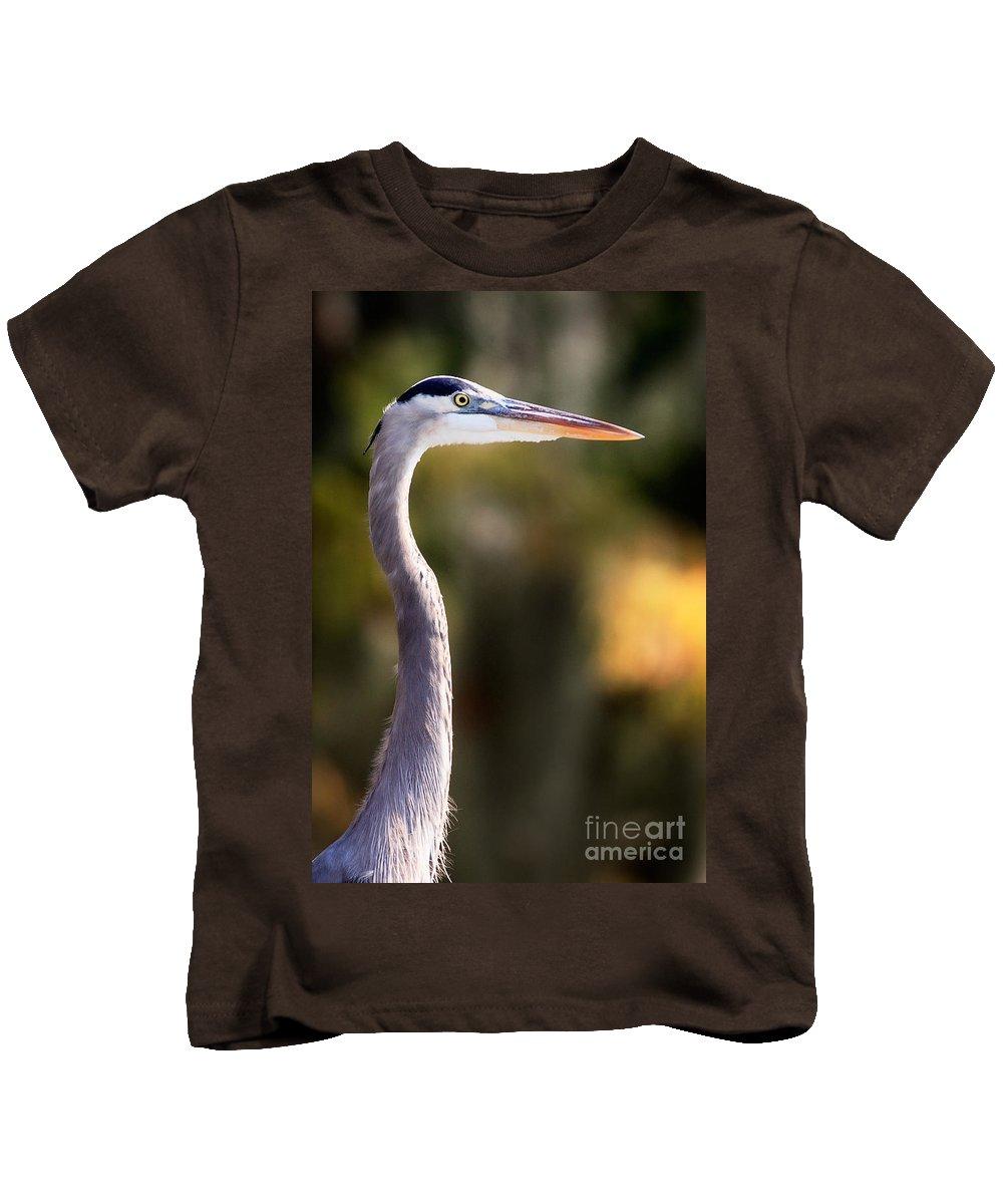 Great Blue Heron Kids T-Shirt featuring the photograph Great Blue Heron by Matt Suess