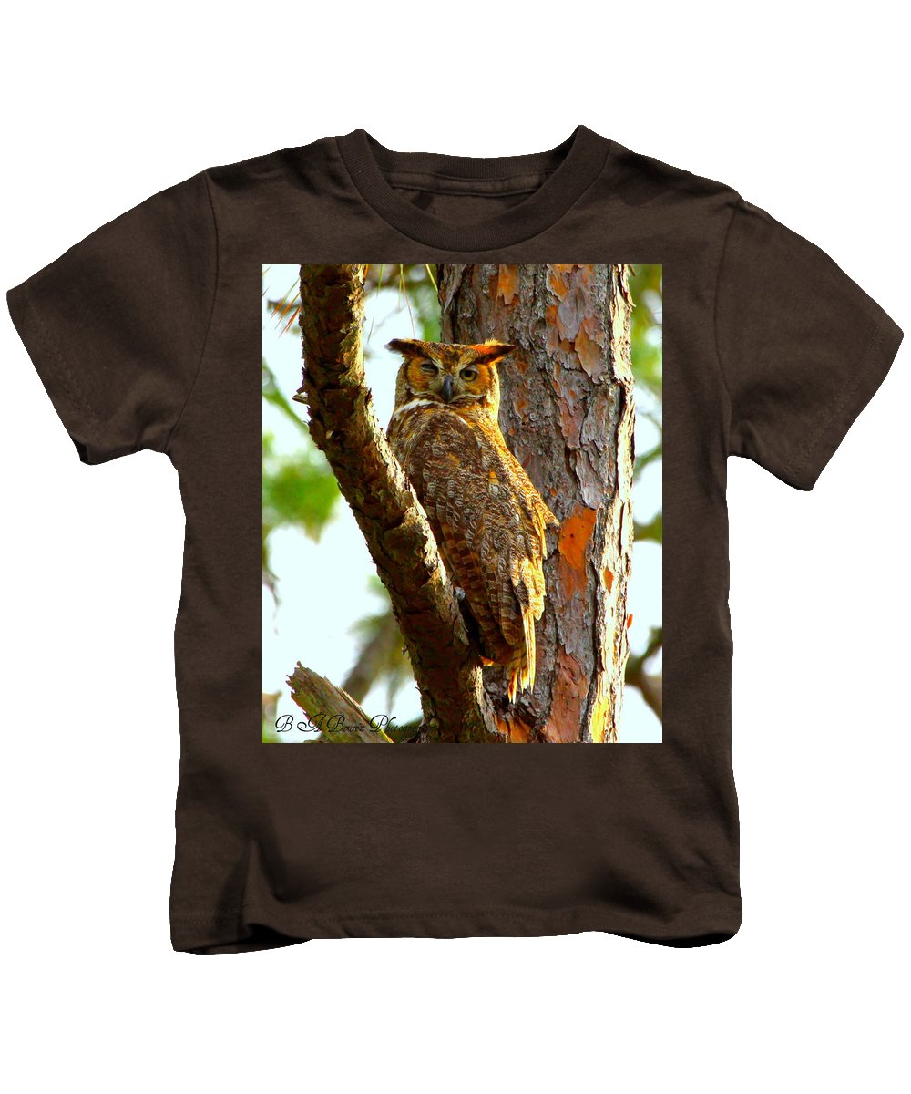 Great Horned Owl Kids T-Shirt featuring the photograph Great Horned Owl Wink by Barbara Bowen