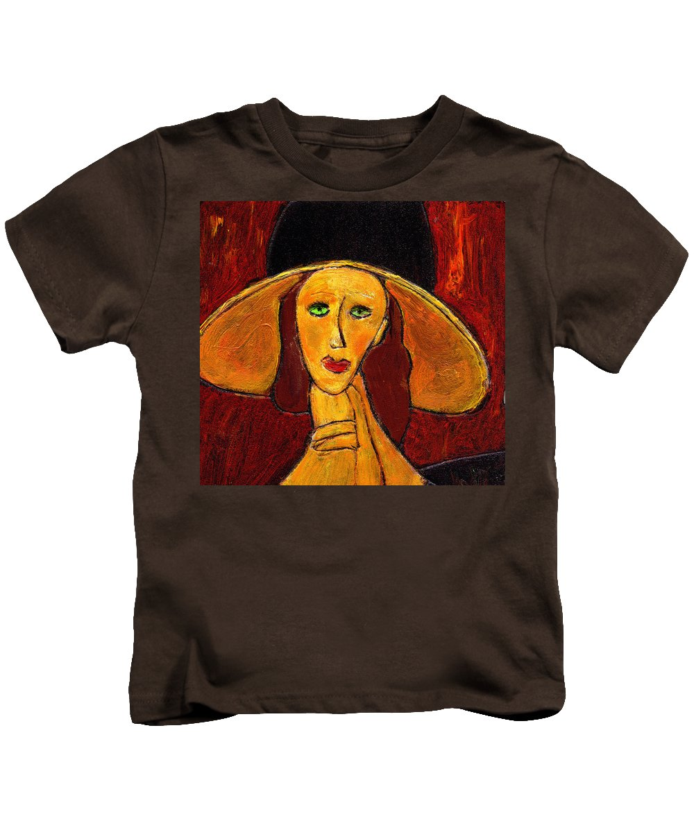 Hat Kids T-Shirt featuring the painting Green Eyes by Wayne Potrafka