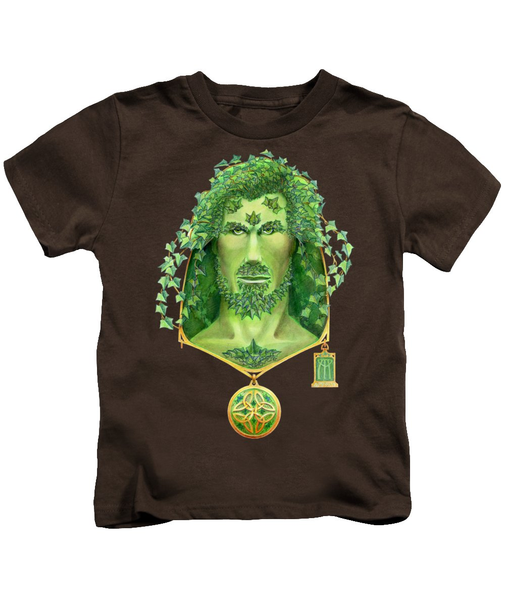 Green Man Kids T-Shirt featuring the painting Ivy Green Man by Melissa A Benson